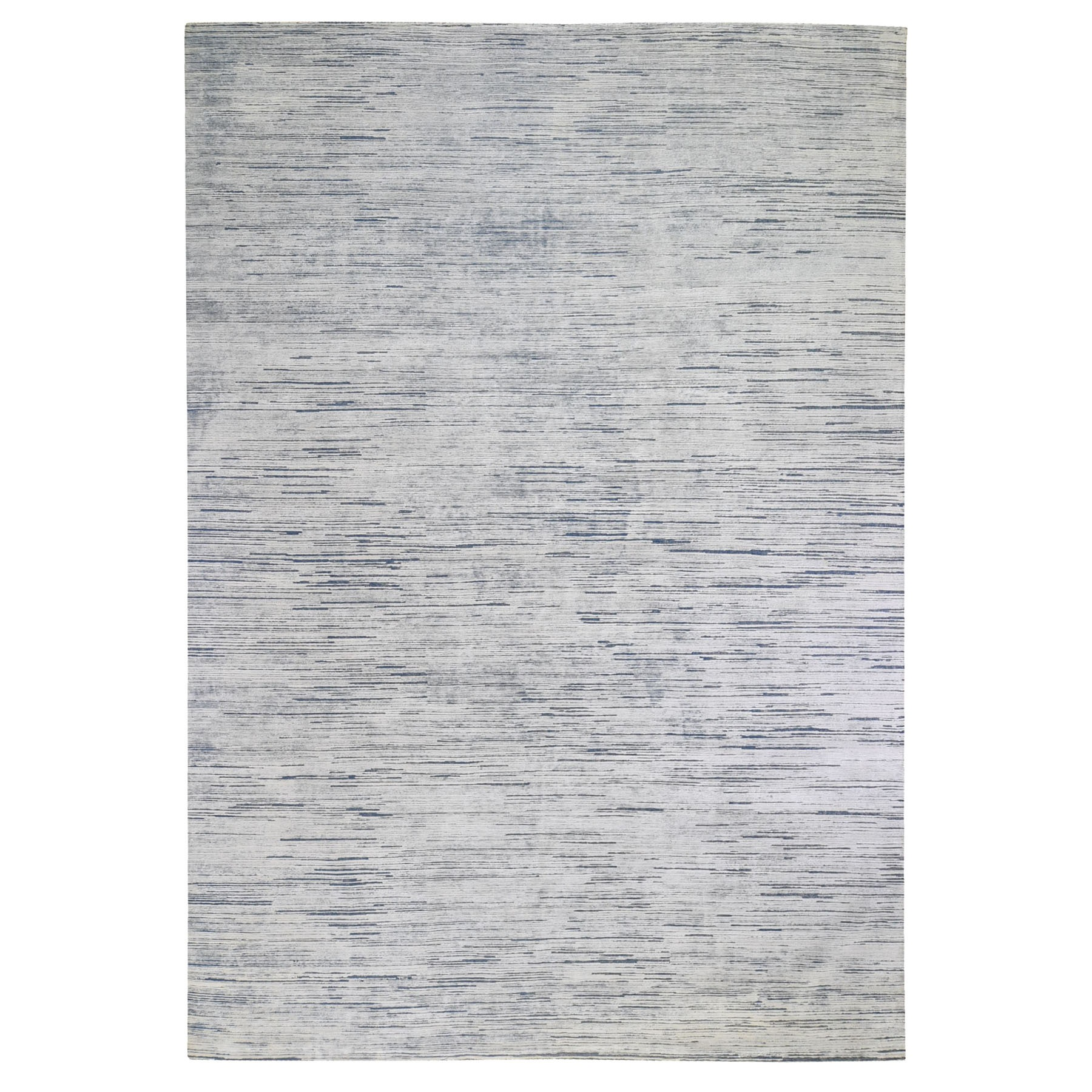 "10'x14'1"" Blue Gabbeh Design Silk with Textured Wool Hand Knotted Oriental Rug"