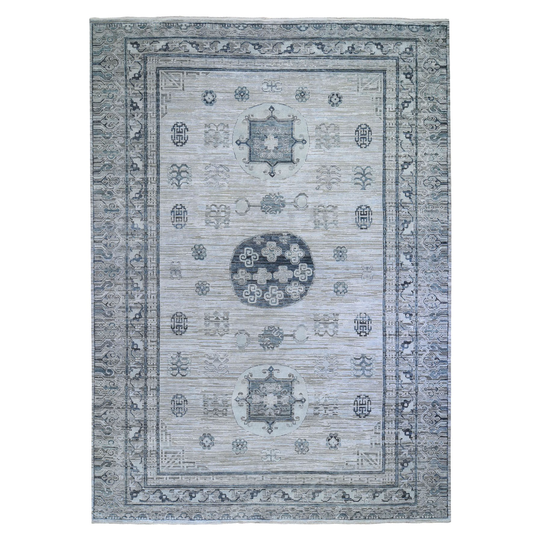 "10'4""x14'1"" Gray Pure Silk with Textured Wool Khotan Design Hand Knotted Oriental Rug"