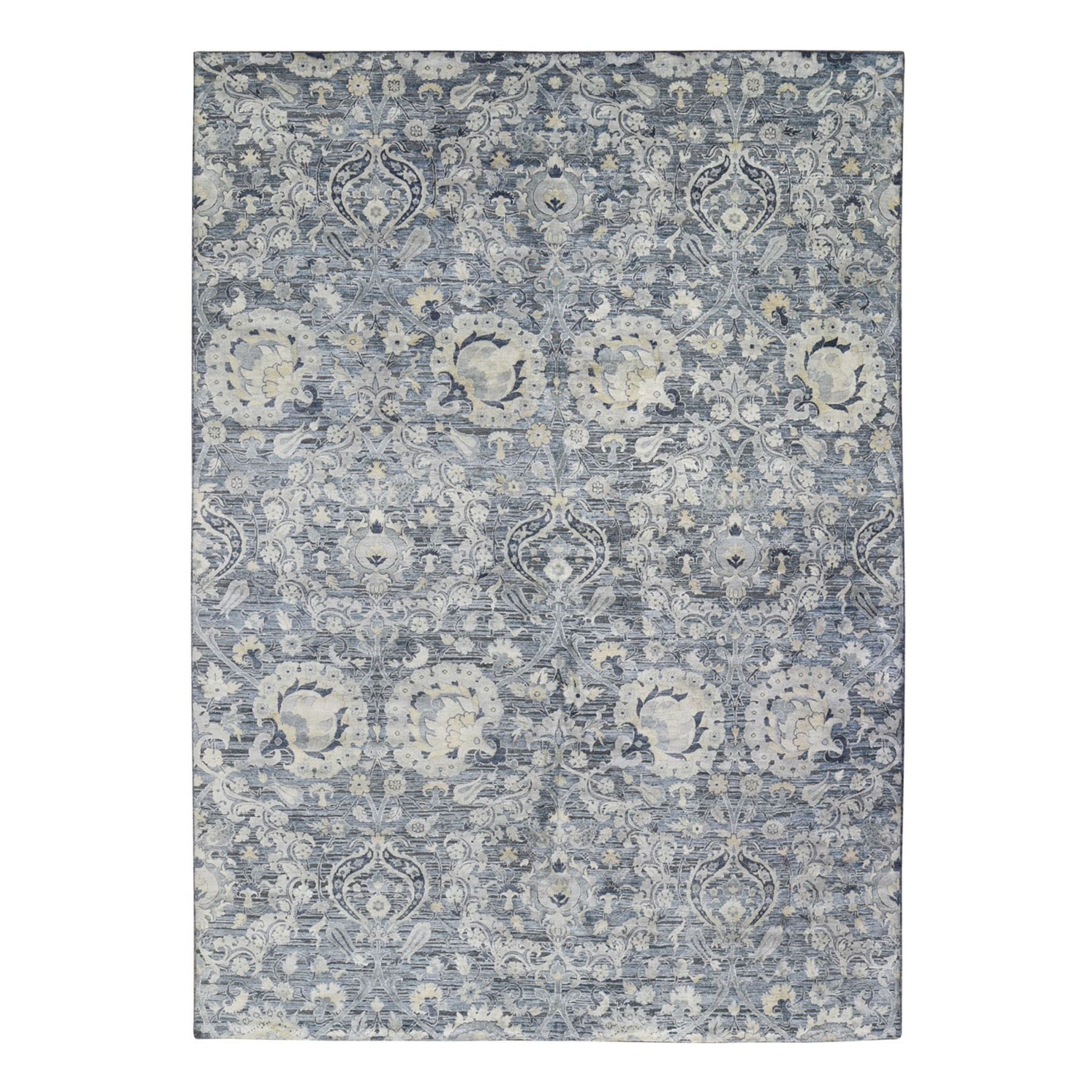 "10'x14'4"" Gray Tulip and Large Blossom Design Pure Silk with Textured Wool Hand Knotted Oriental Rug"