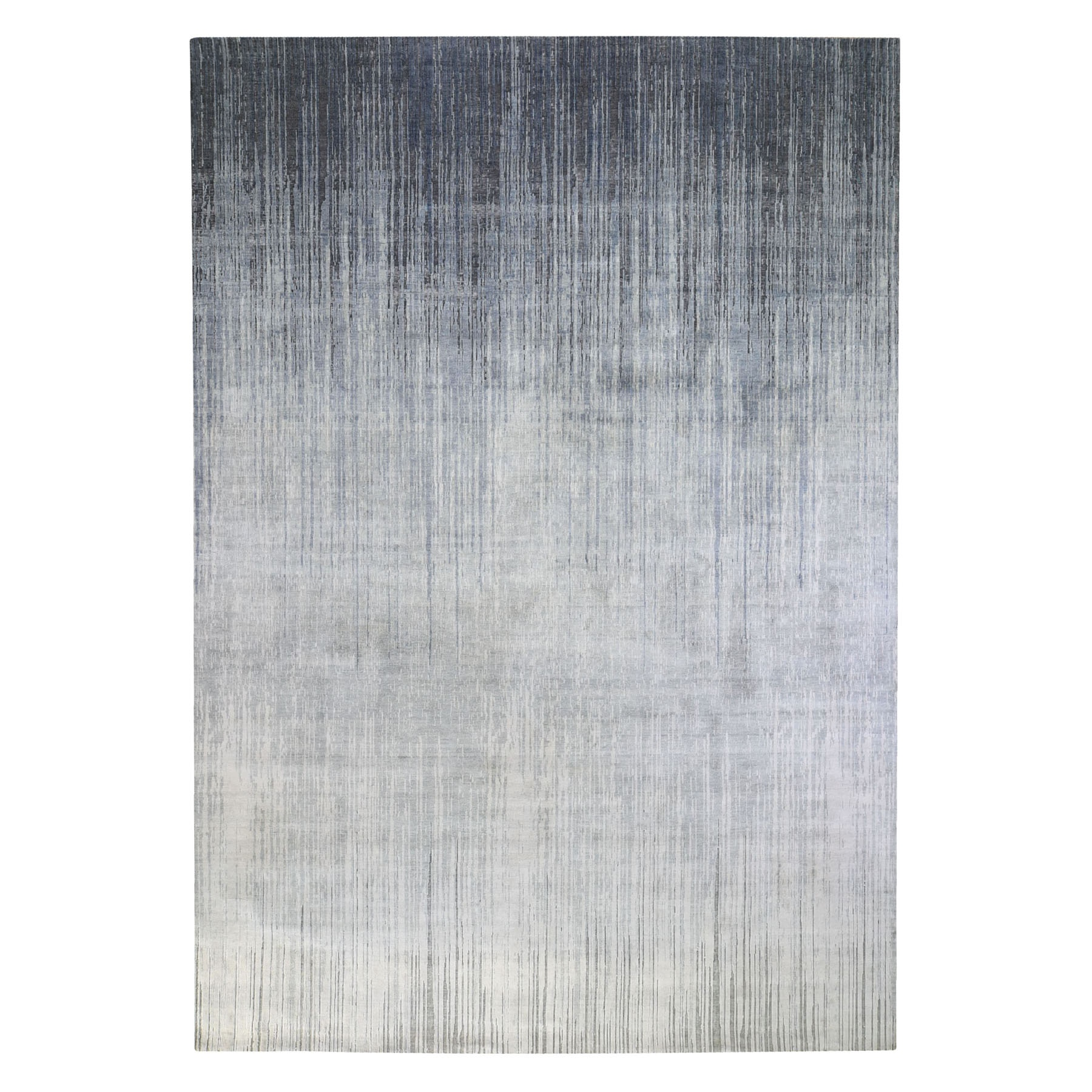 10'x14' Gray Ombre Design Pure Silk with Textured Wool Hand Knotted Oriental Rug