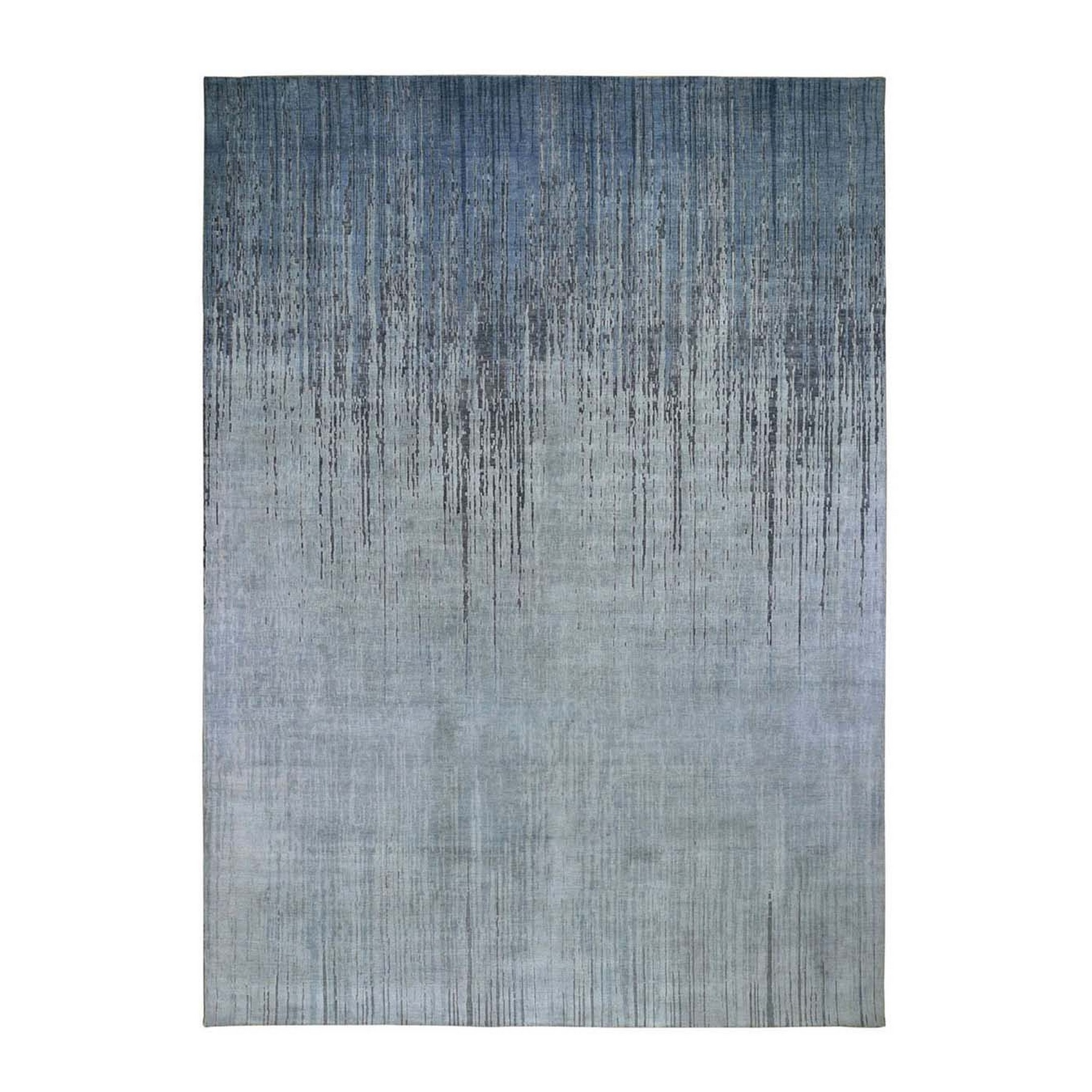 9'x12' Gray Ombre Design Pure Silk with Textured Wool Hand Knotted Oriental Rug