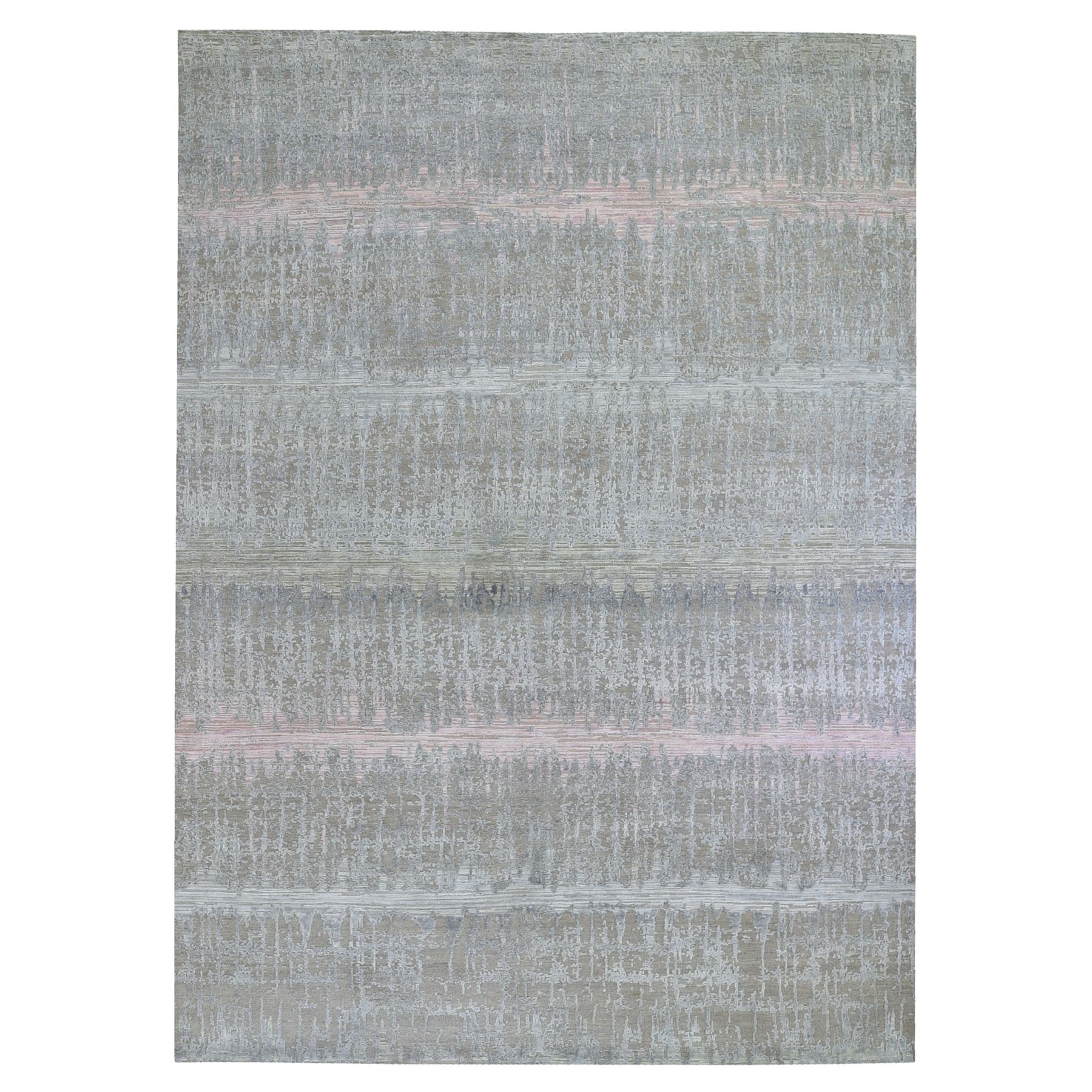 "9'x12'5"" Cardiac Design with Pastel Colors Textured Wool and Pure Silk Hand Knotted Oriental Rug"