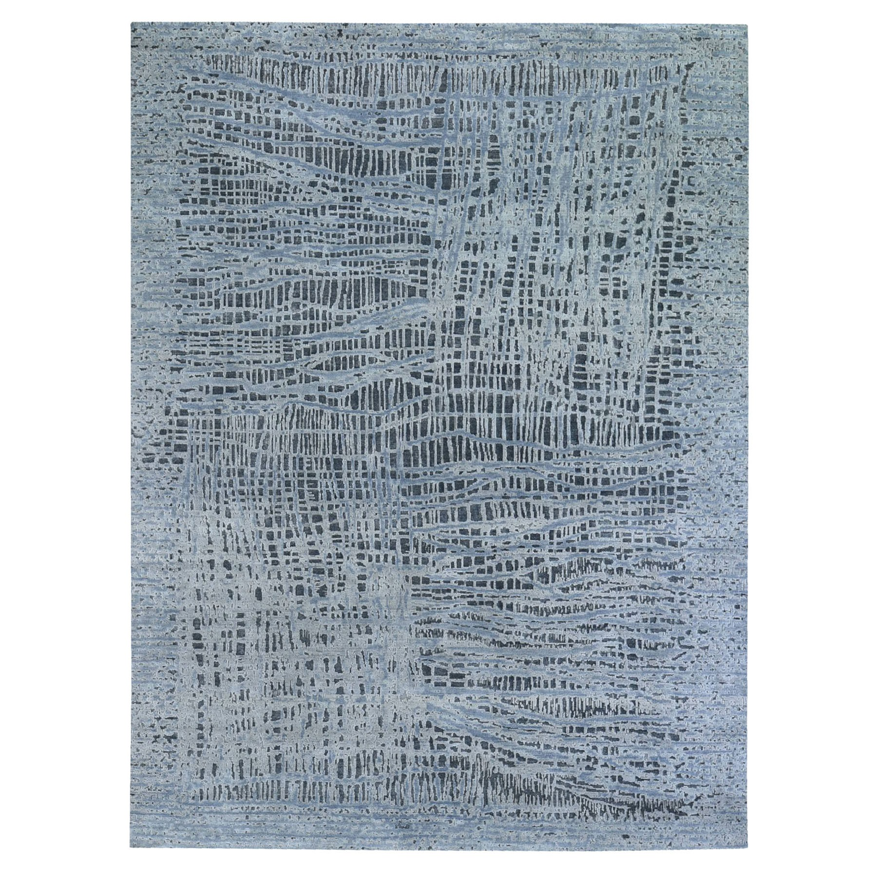 """7'10""""x10' THE LOST BRANCHES, Silk with Textured Wool Hand Knotted Oriental Rug"""