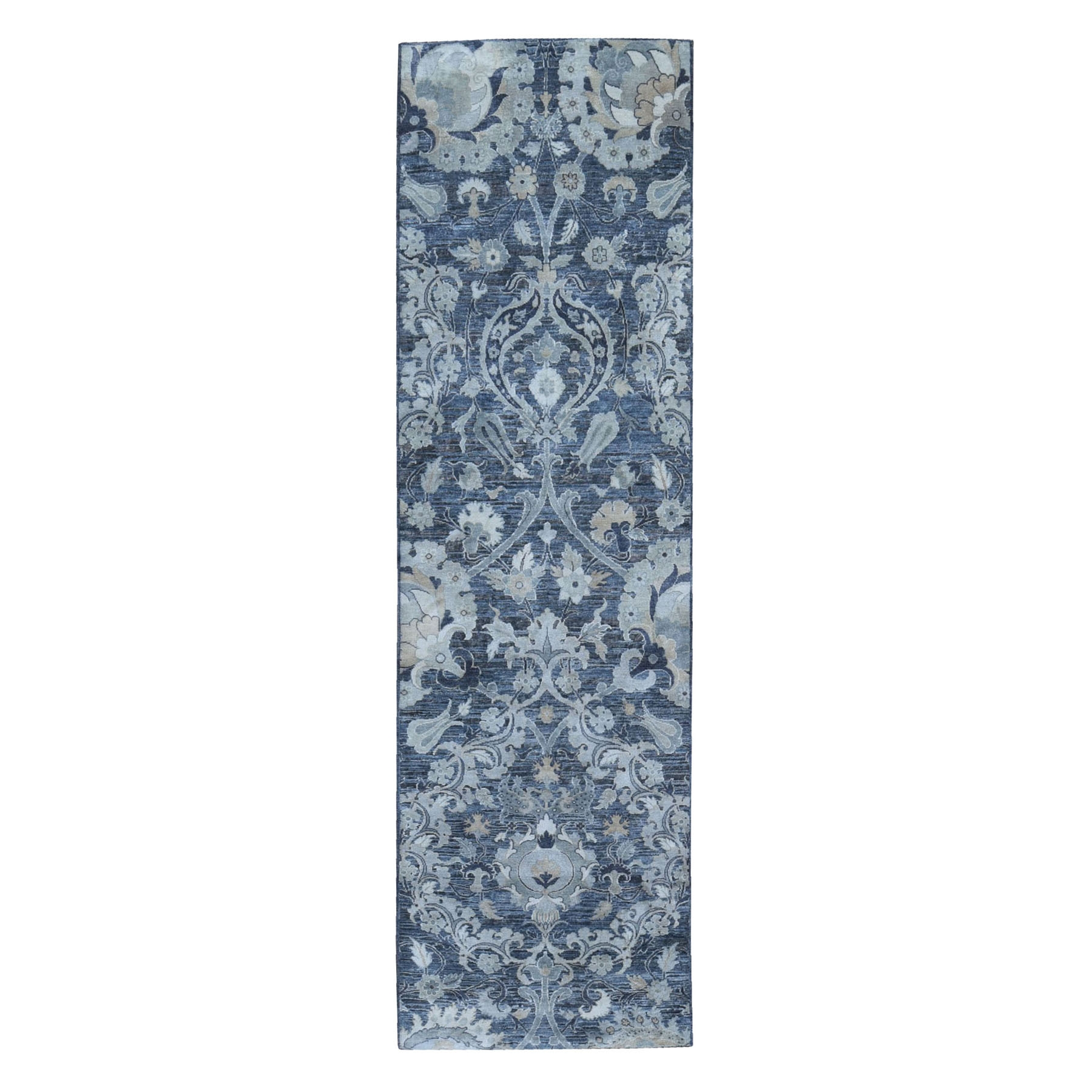 "3'x10'2"" Gray Silk with Textured Wool Palmette Motif Design Hand Knotted Wide Runner Oriental Rug"