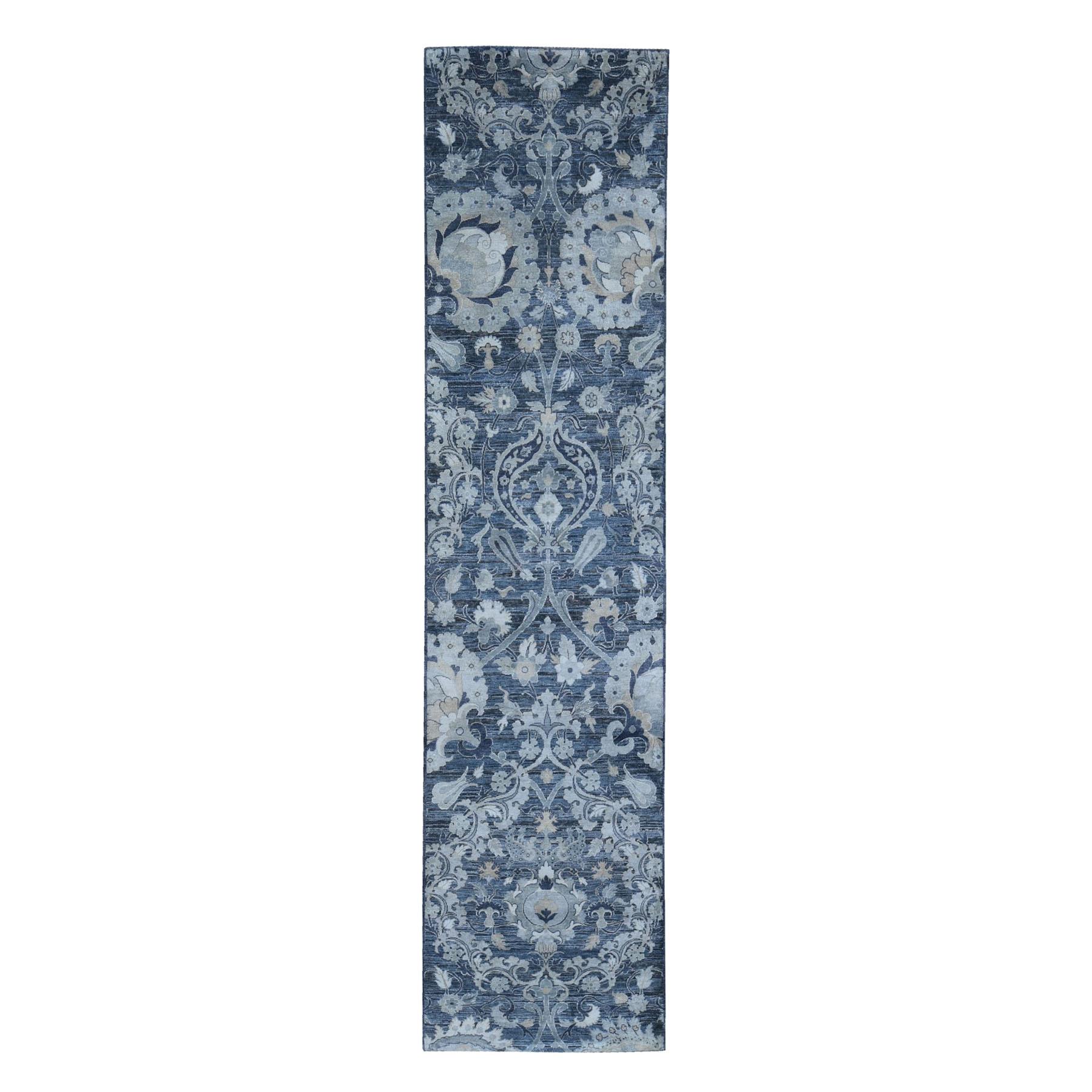 "3'x12'2"" Silk with Textured Wool Palmette Motif Design Hand Knotted Wide Runner Oriental Rug"