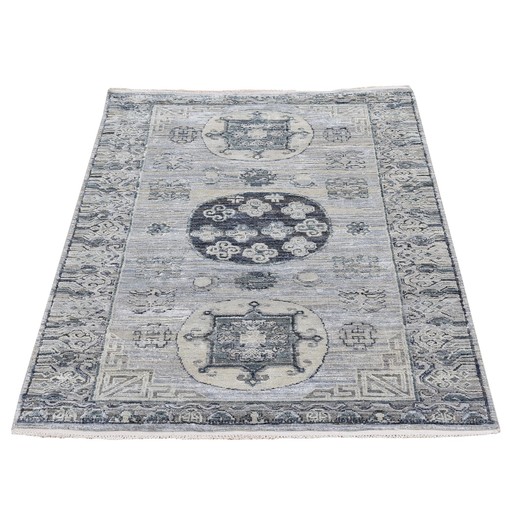 "3'x5'3"" Khotan Design Pure Silk with Textured Wool Gray Hand Knotted Oriental Rug"