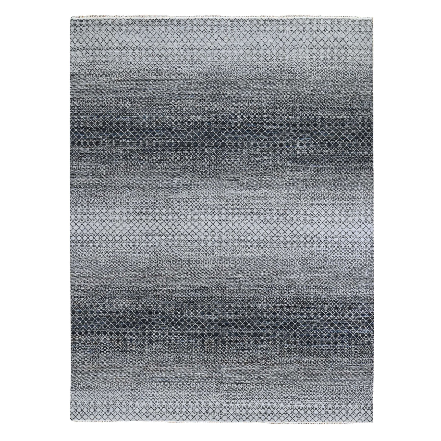 "8'x10'1"" Black-Light Gray Chiaroscuro Collection Hand Knotted Pure Wool Thick and Plush Modern Rug"