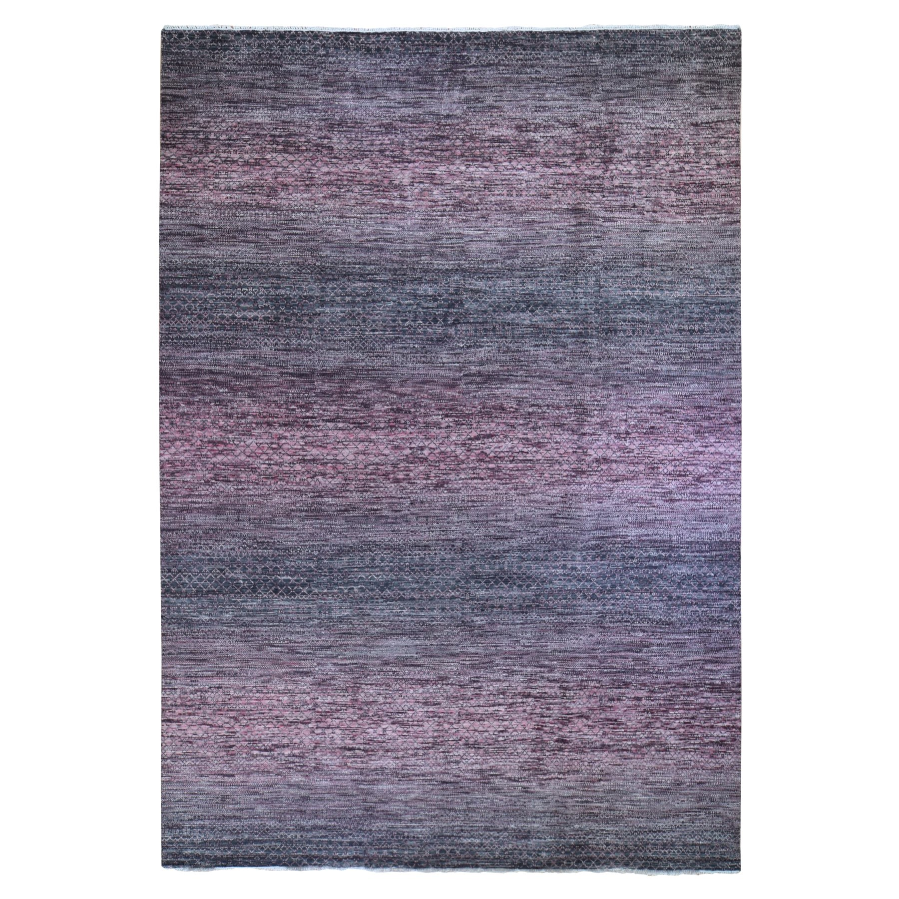 "10'x13'10"" Pink-Charcoal Black Chiaroscuro Collection Hand Knotted 100% Wool Thick and Plush Modern Rug"