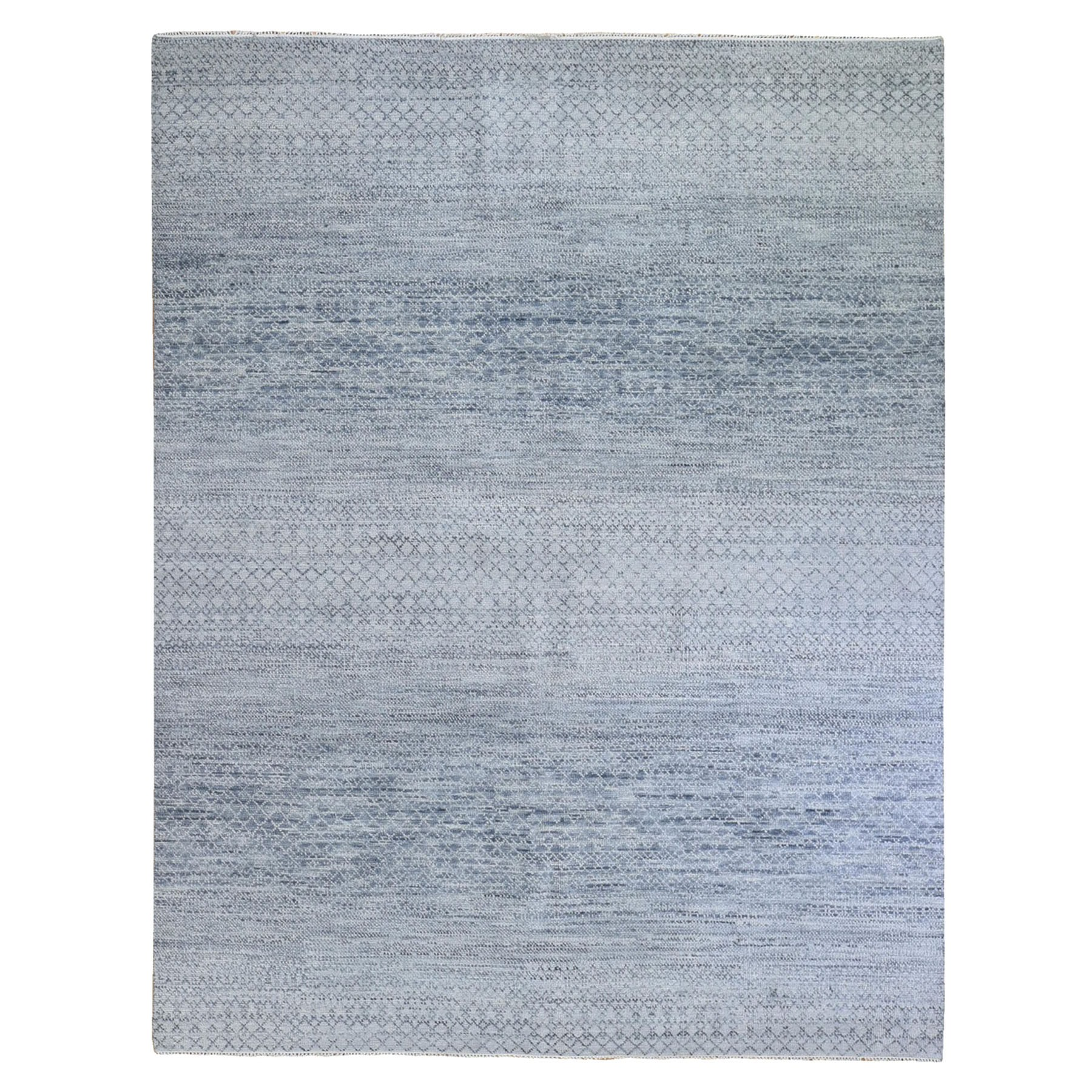 "8'2""x9'10"" Gray Thick and Plush Chiaroscuro Collection Natural Wool Hand Knotted Modern Rug"