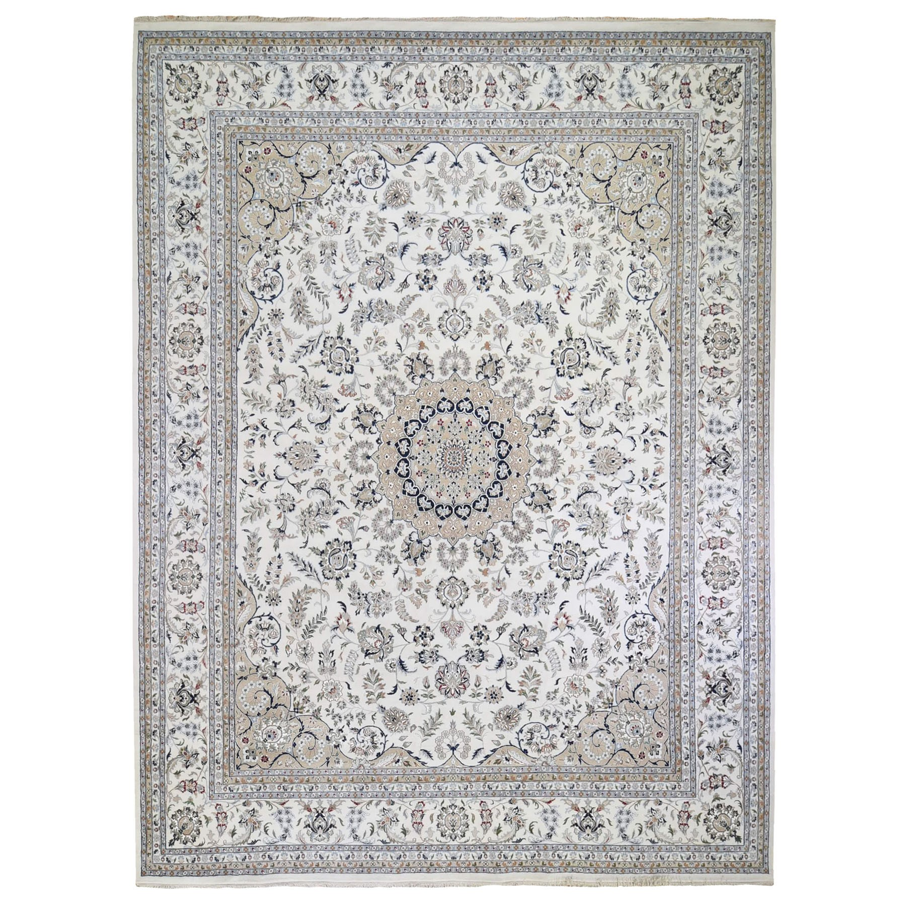 "11'9""x15'4"" Oversized Ivory Wool and Silk 250 KPSI Nain Hand Knotted Oriental Rug"