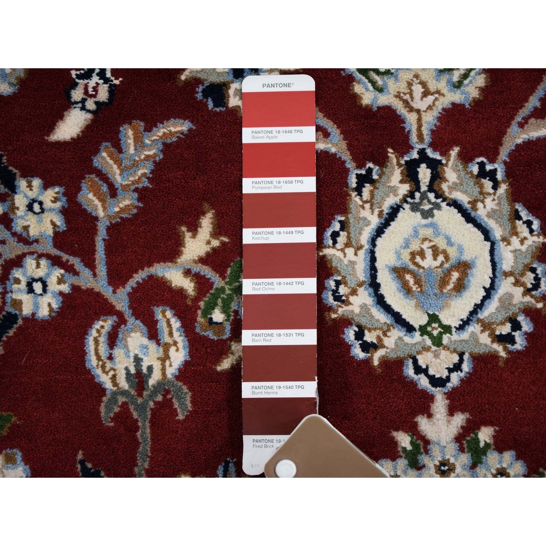 7'x7' Red Nain Wool and Silk 250 KPSI  Hand Knotted Round Oriental Rug