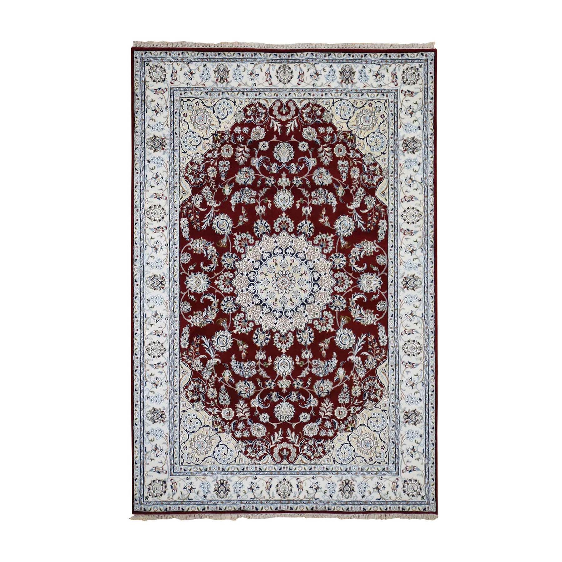 "5'7""x9' Red Wool and Silk Nain 250 KPSI Hand Knotted Oriental Rug"