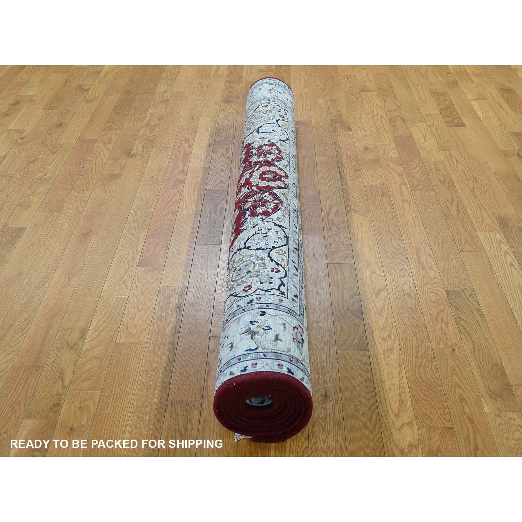 """5'7""""x9' Red Wool and Silk Nain 250 KPSI Hand Knotted Oriental Rug"""