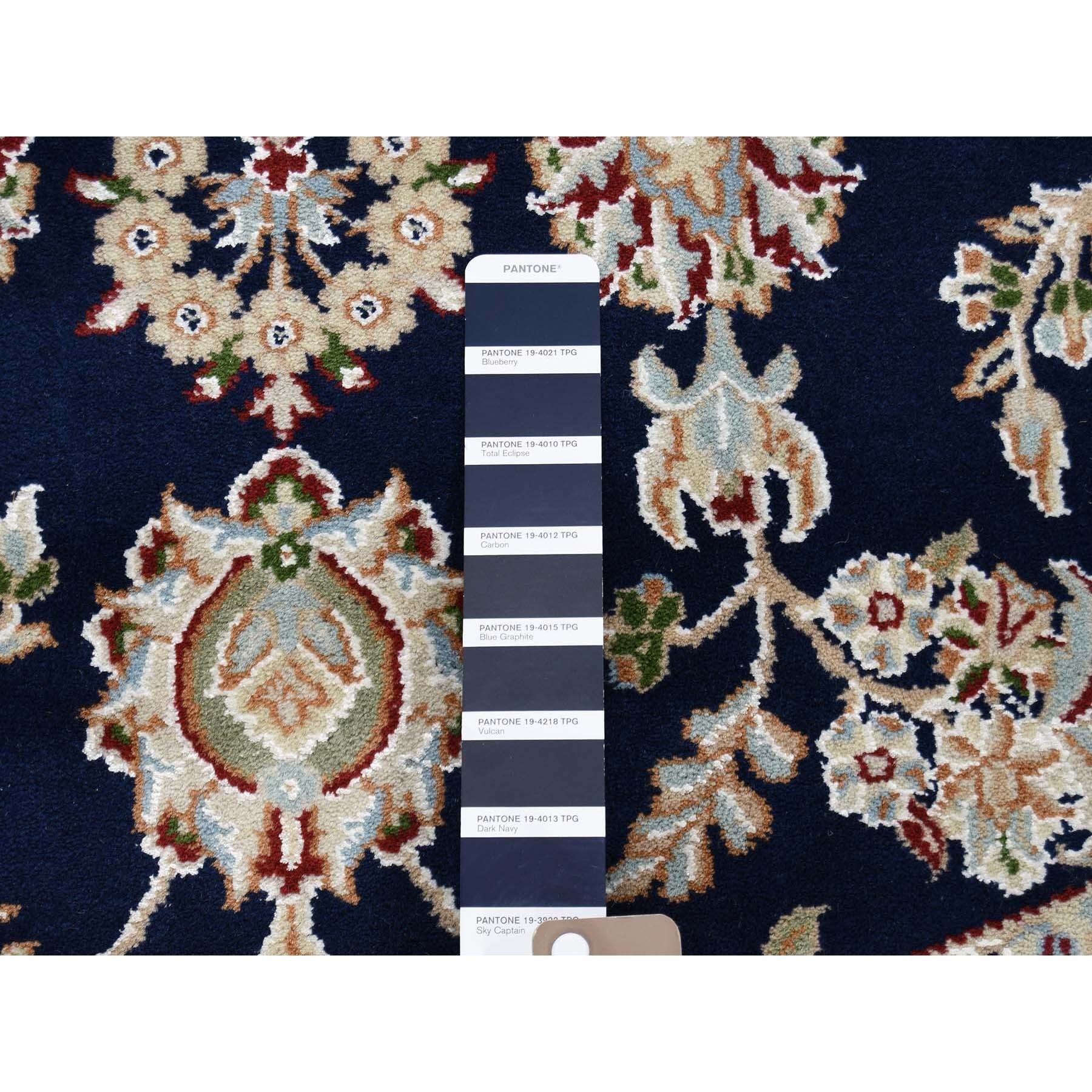 6'x6' Blue Nain Wool and Silk 250 KPSI Hand Knotted Round Oriental Rug