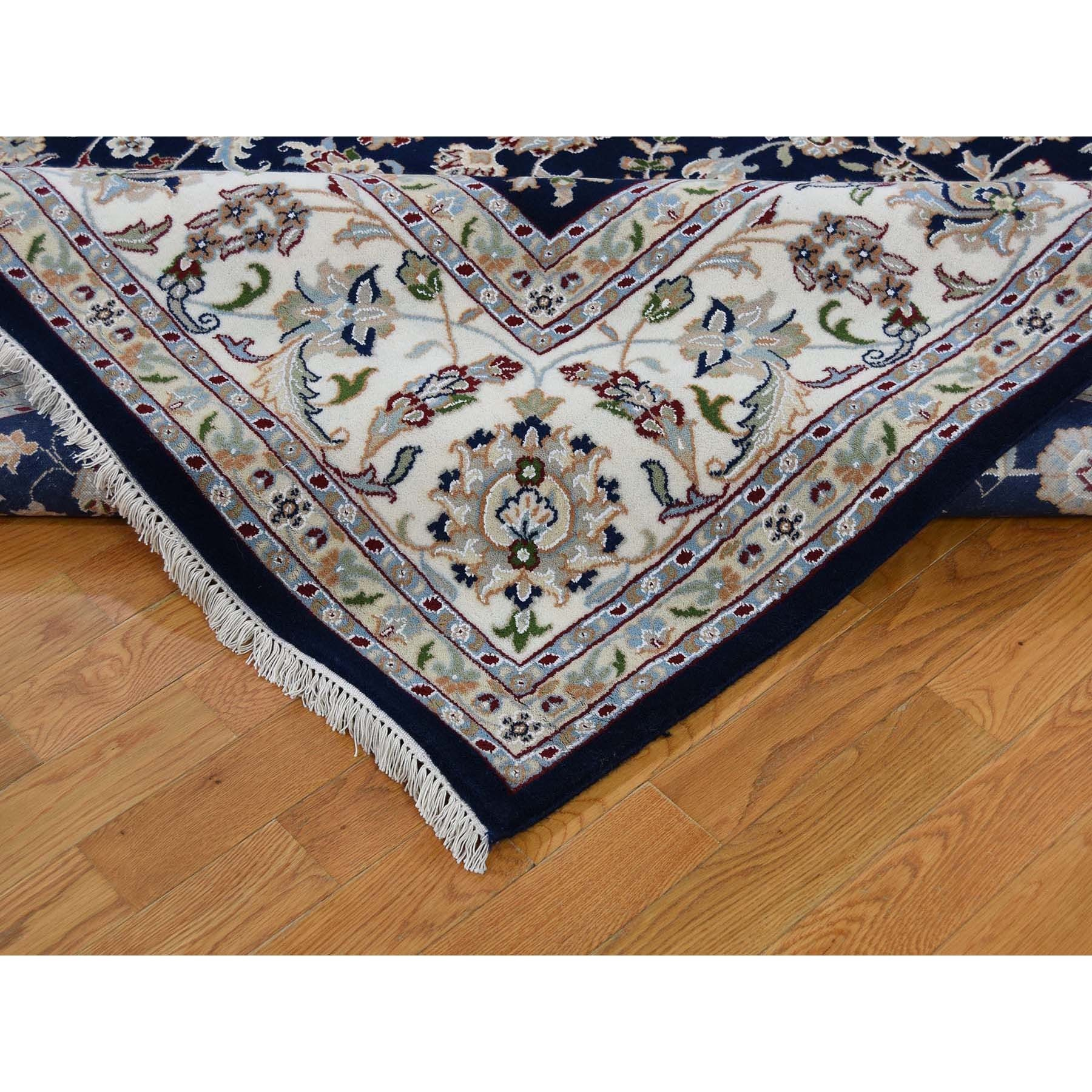 "8'8""x11'10"" Navy Blue Wool and Silk 250 KPSI All Over Design Nain Hand Knotted Oriental Rug"