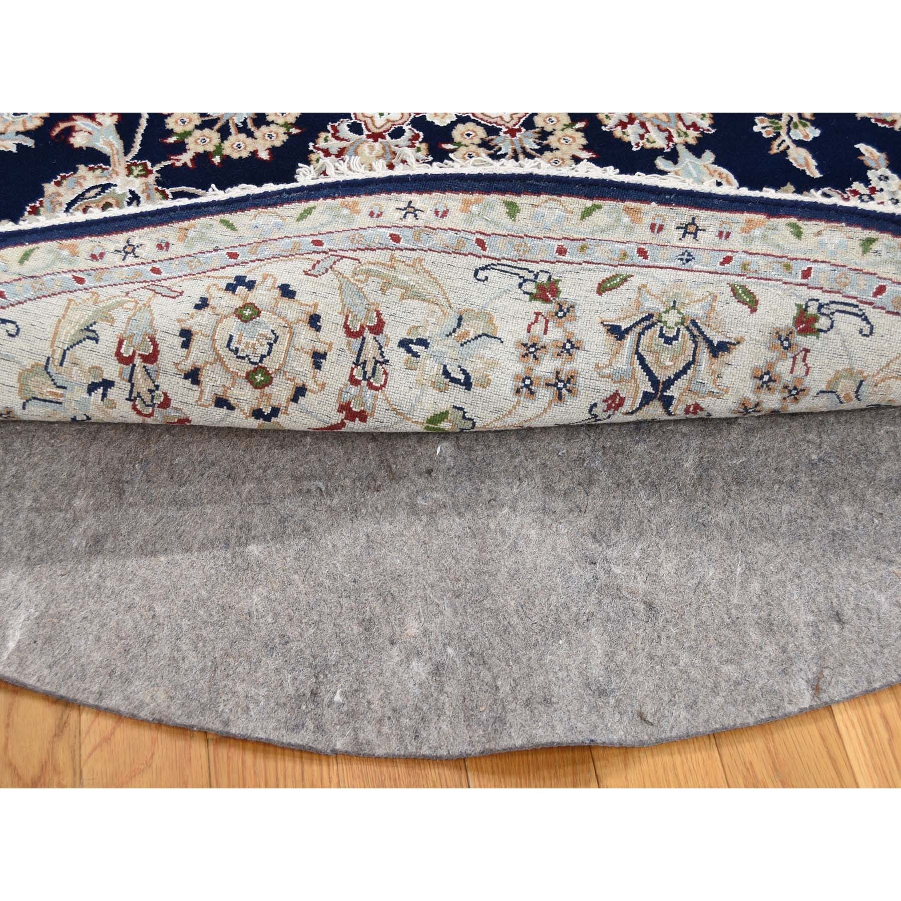 """6'1""""x6'1"""" Nain Wool and Silk 250 KPSI Hand Knotted Round Navy Blue Oriental Rug"""