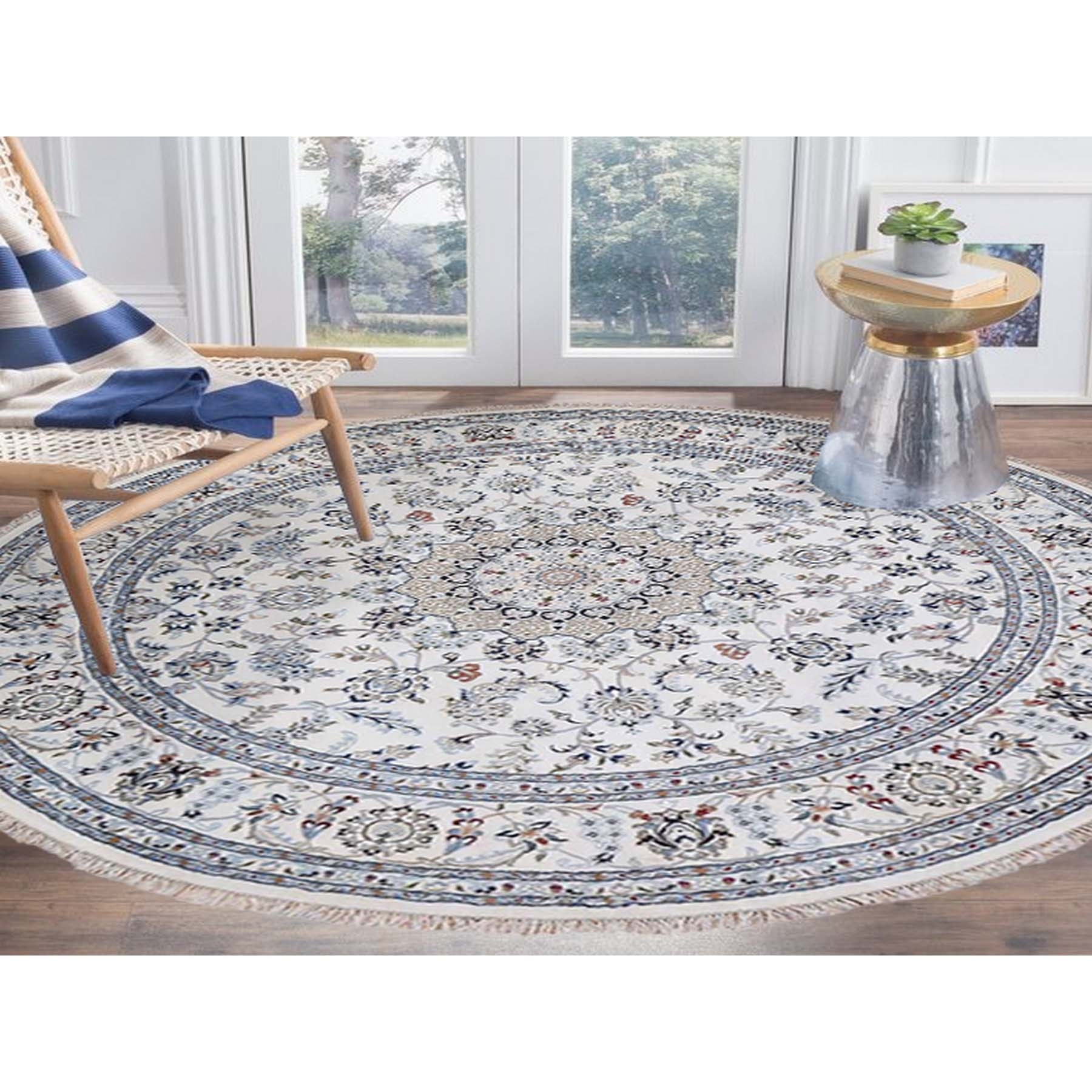 """9'1""""x9'1"""" 250 KPSI Ivory Nain Wool and Silk Hand Knotted Round Oriental Rug"""