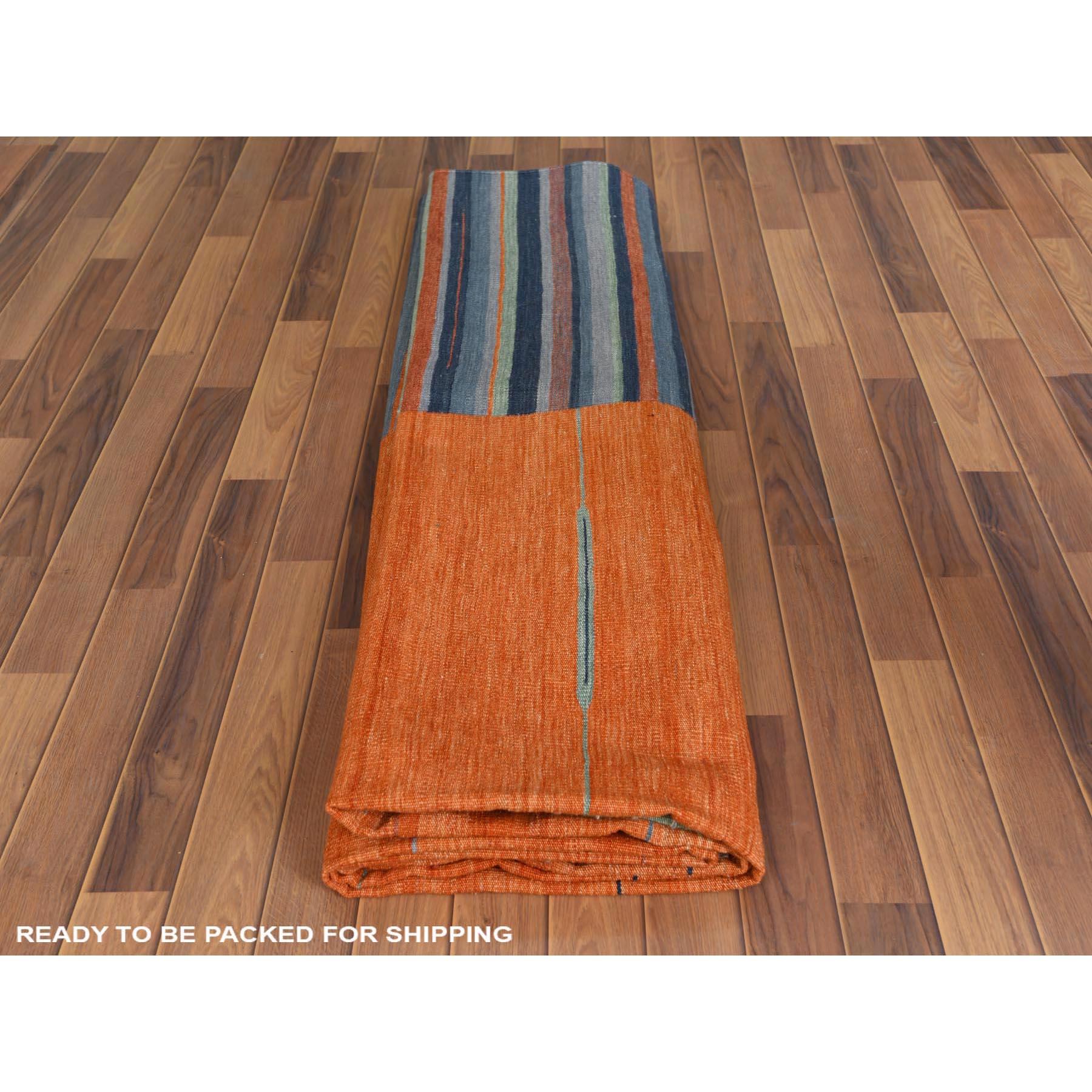"9'5""x12' Flat Weave Sunburst And Stripe Design Kilim Pure Wool Hand Woven Reversible Oriental Rug"