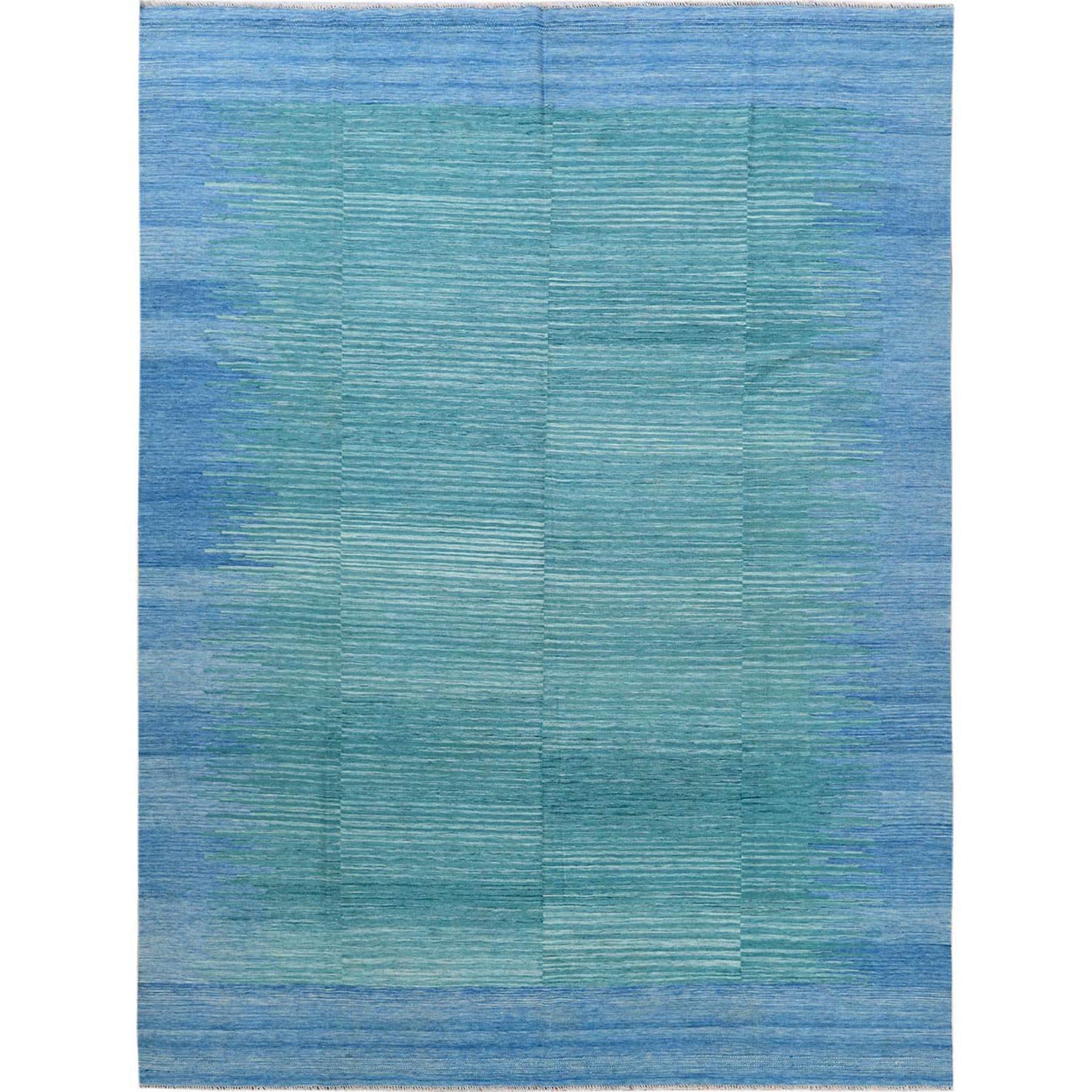 "9'1""x12' THE AQUAMARINE Hand Woven Flat Weave Kilim Natural Wool Reversible Oriental Rug"