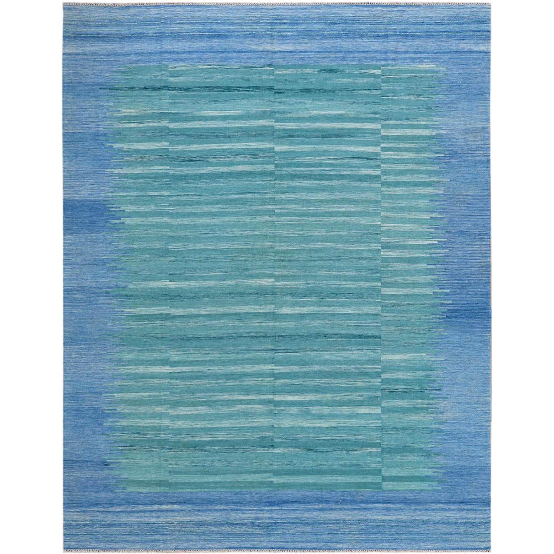 "8'1""x10'1"" THE AQUAMARINE Hand Woven Flat Weave Kilim Organic Wool Reversible Oriental Rug"