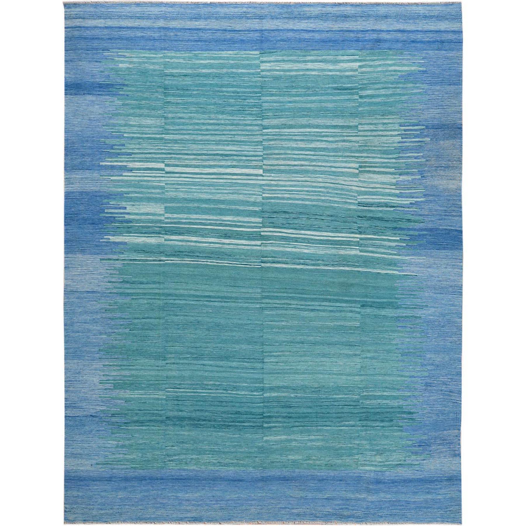 "9'2""x12' THE AQUAMARINE Flat Weave Kilim Natural Wool Reversible Hand Woven Oriental Rug"
