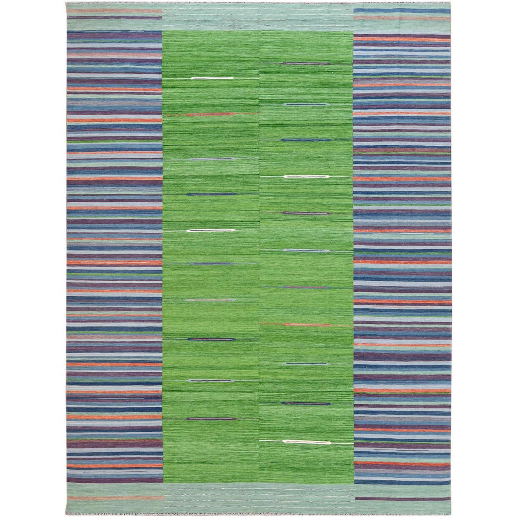 "9'3""X12'1"" Flat Weave Kilim Pure Wool Hand Woven Stripe Design Reversible Oriental Rug moa6009a"