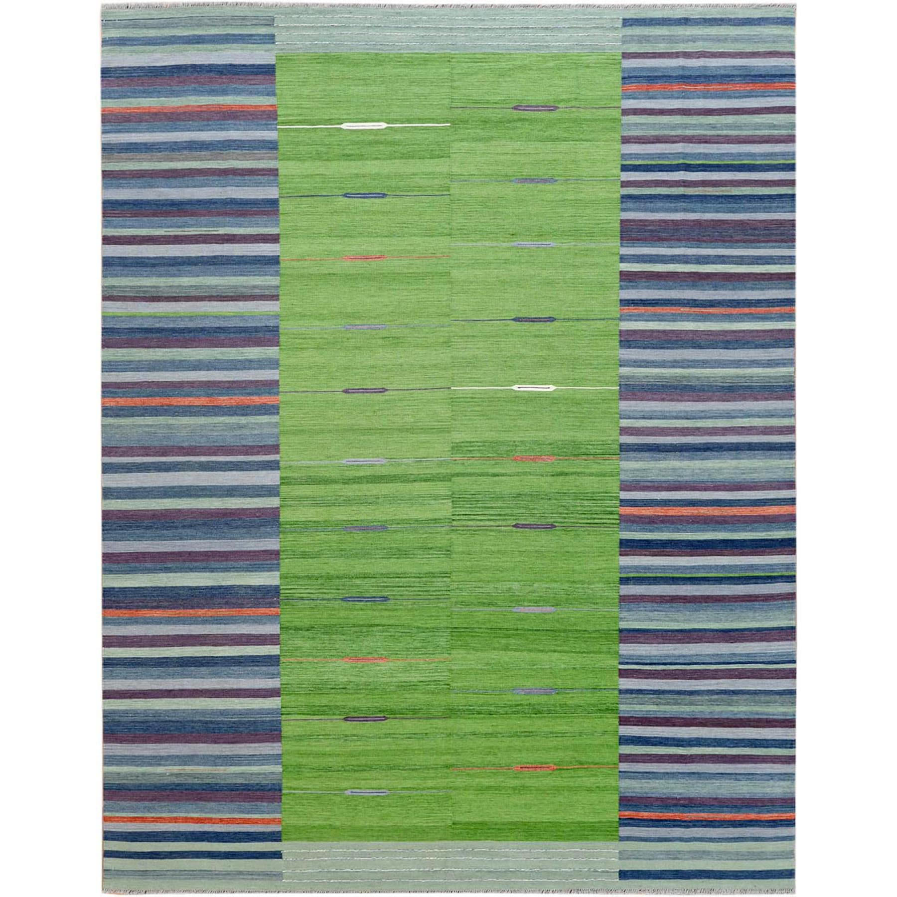 "9'4""X12'1"" Flat Weave Kilim Pure Wool Hand Woven Stripe Design Reversible Oriental Rug"