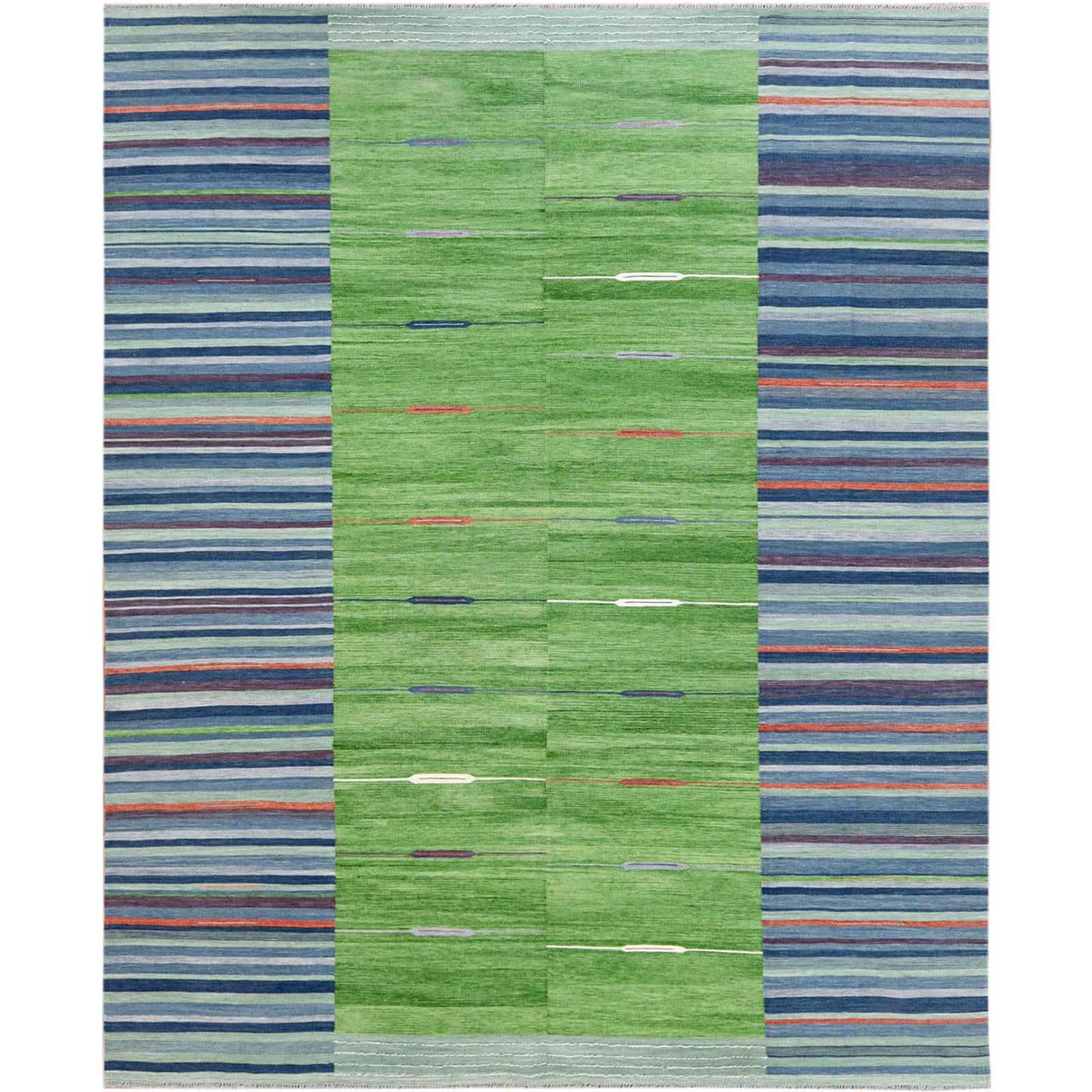 "8'3""X10'1"" Hand Woven Stripe Design Flat Weave Kilim Organic Wool Reversible Oriental Rug moa6009c"
