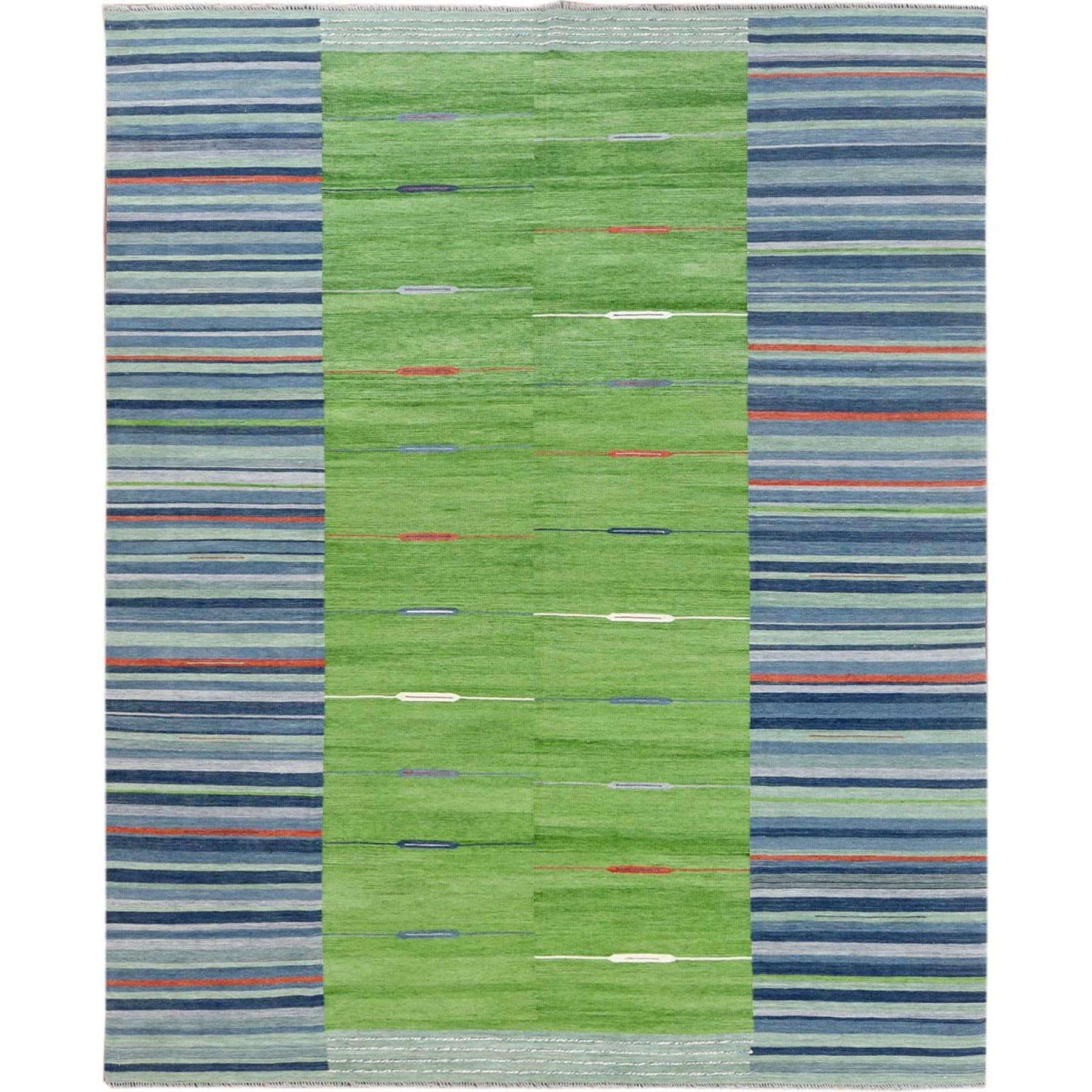 "8'3""X10'1"" Hand Woven Stripe Design Flat Weave Kilim Pure Wool Reversible Oriental Rug moa6009d"