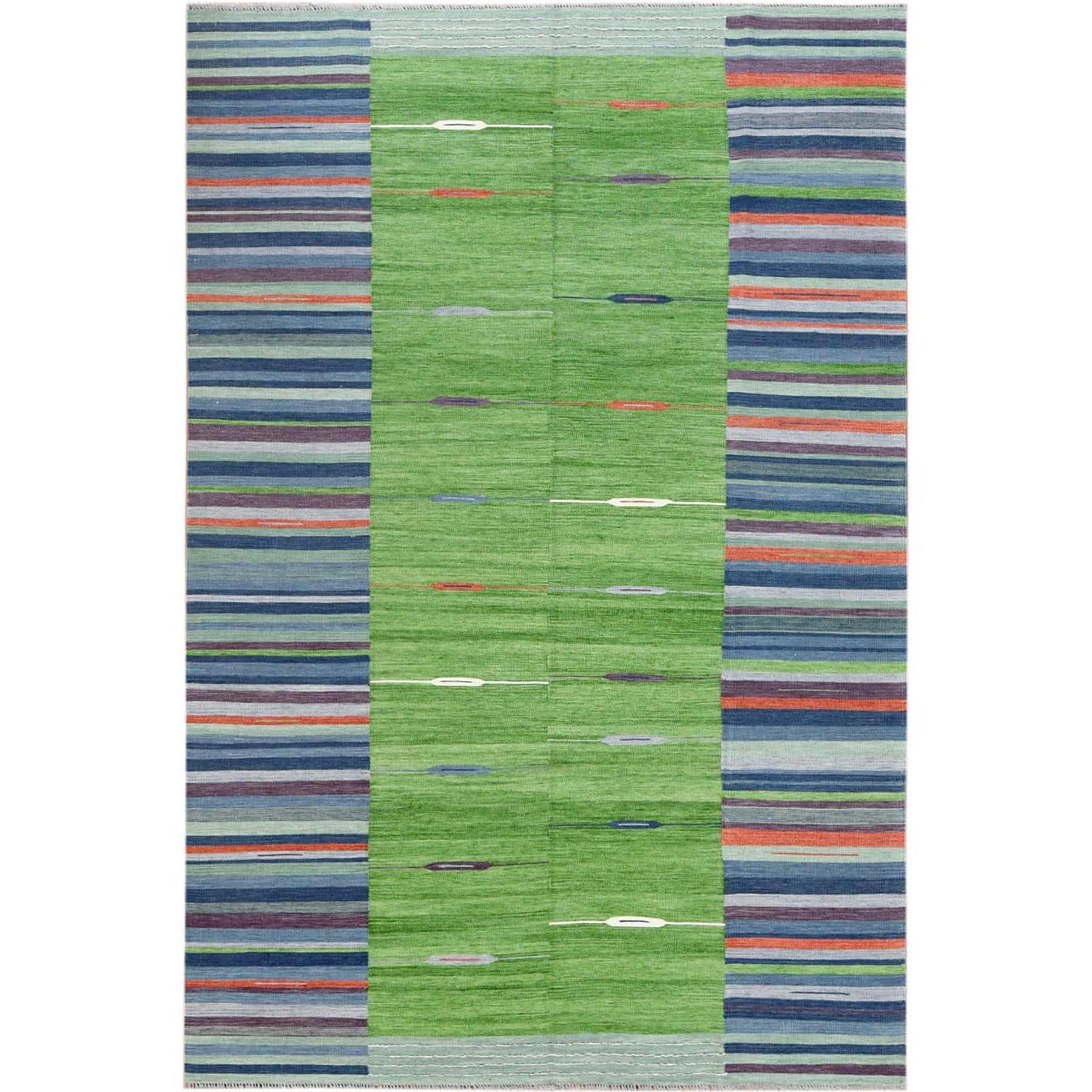 "6'2""X9'2"" Flat Weave Kilim Pure Stripe Design Wool Hand Woven Reversible Oriental Rug moa6009e"