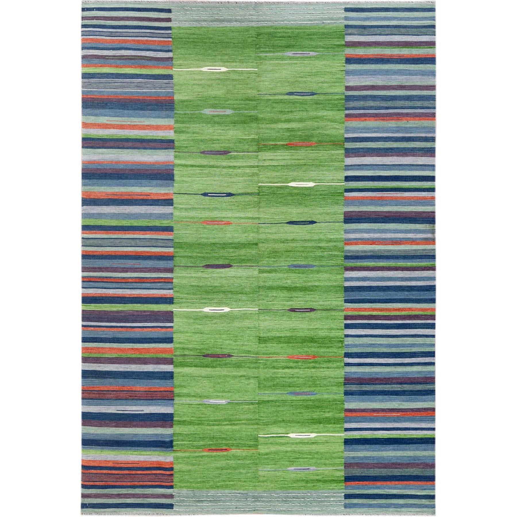 "6'3""X9'2"" Flat Weave Kilim Pure Wool Stripe Design Hand Woven Reversible Oriental Rug moa60096"