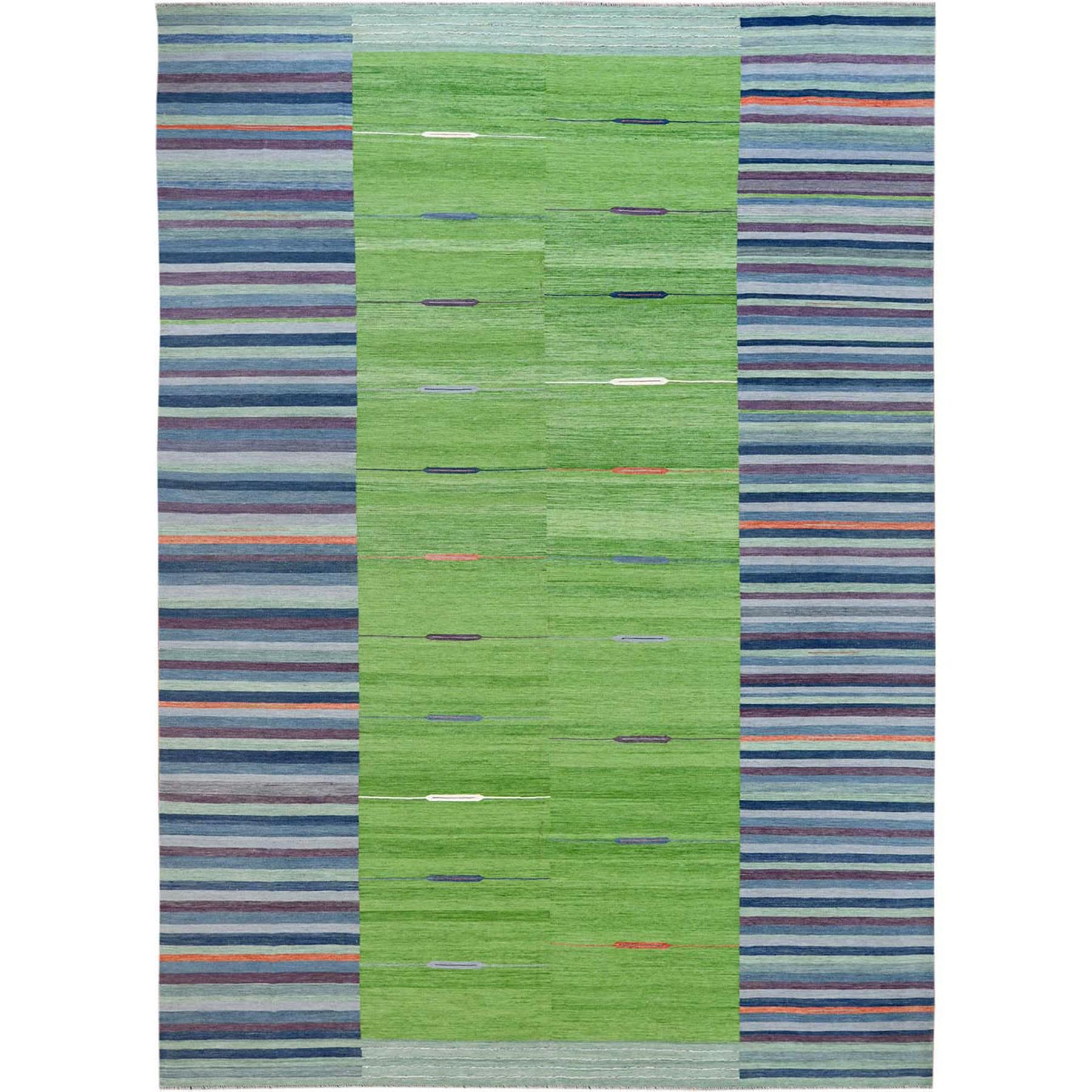 """10'4""""X14'2"""" Flat Weave Kilim Stripe Design Pure Wool Hand Woven Reversible Oriental Over Size Rug moa60097"""
