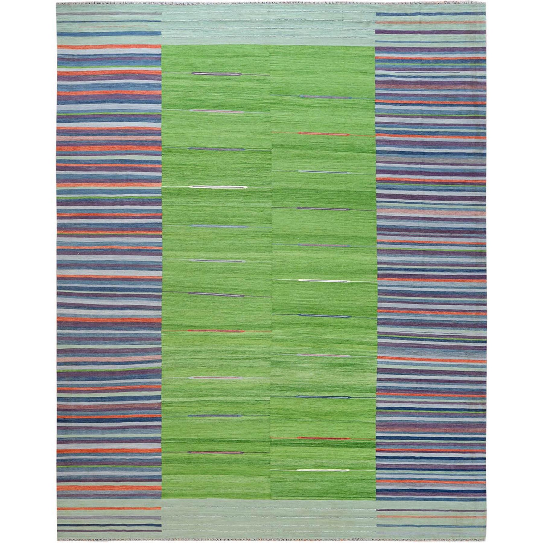 """12'3""""X15'1"""" Flat Weave Kilim Stripe Design Pure Wool Hand Woven Reversible Oriental Over Size Rug moa60098"""