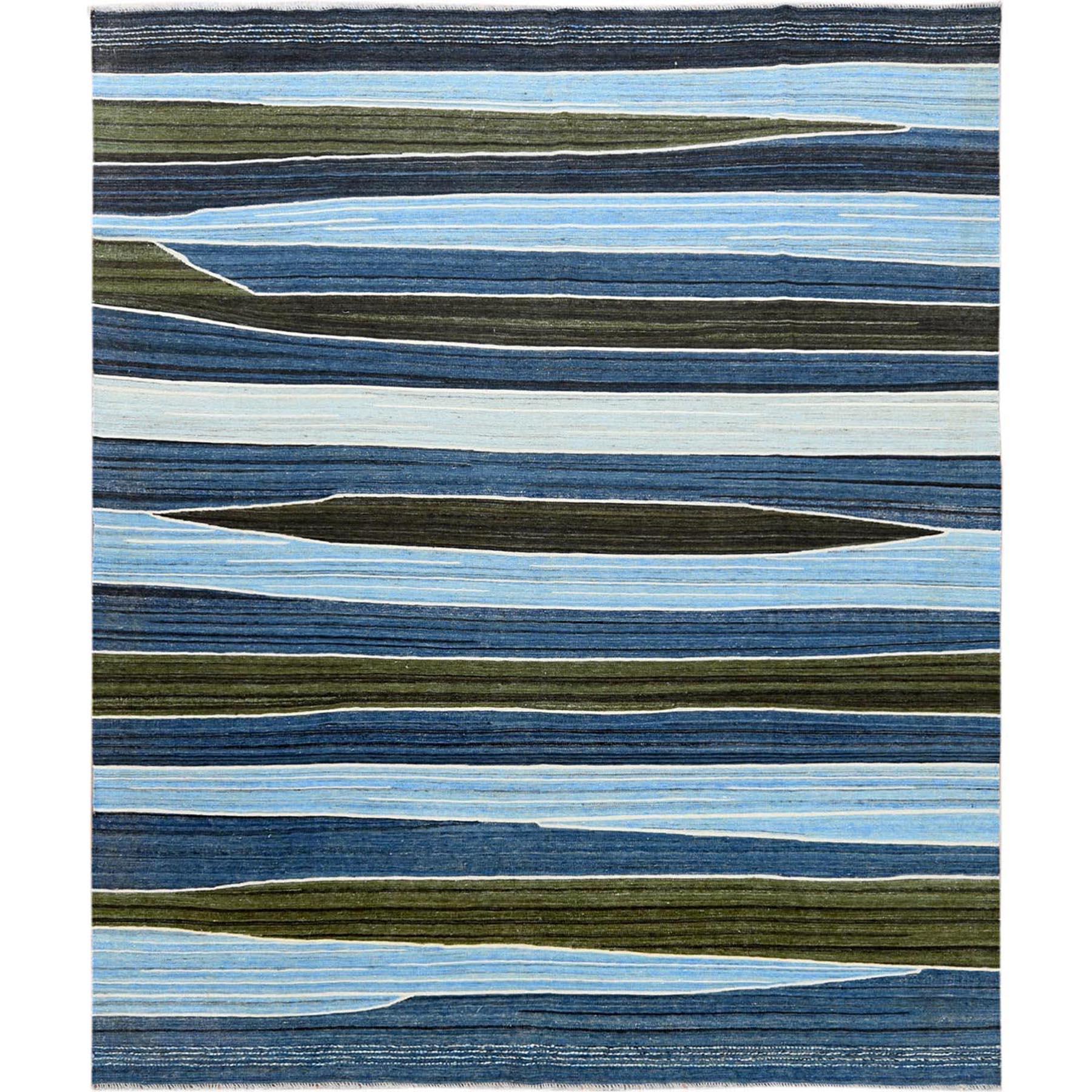 "8'5""X9'10"" Flat Weave Kilim Pure Wool  Aqua And Brown Mountain Design Hand Woven Reversible Oriental Rug moa60099"