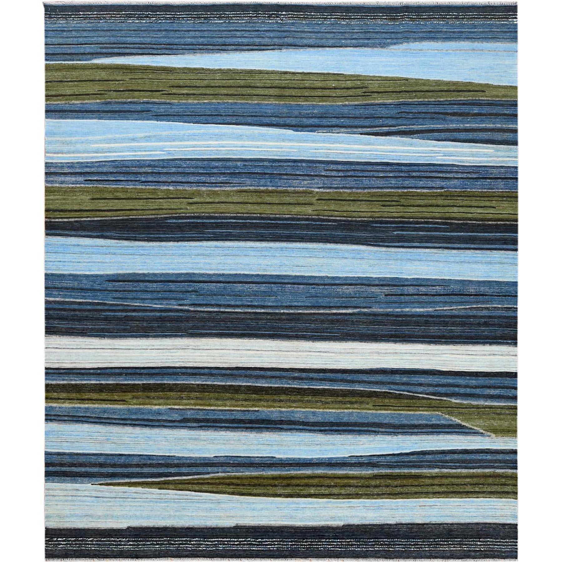 """8'5""""X9'10"""" Hand Woven Flat Weave Blue And Brown Mountain Design Kilim Organic Wool Reversible Oriental Rug moa60a00"""