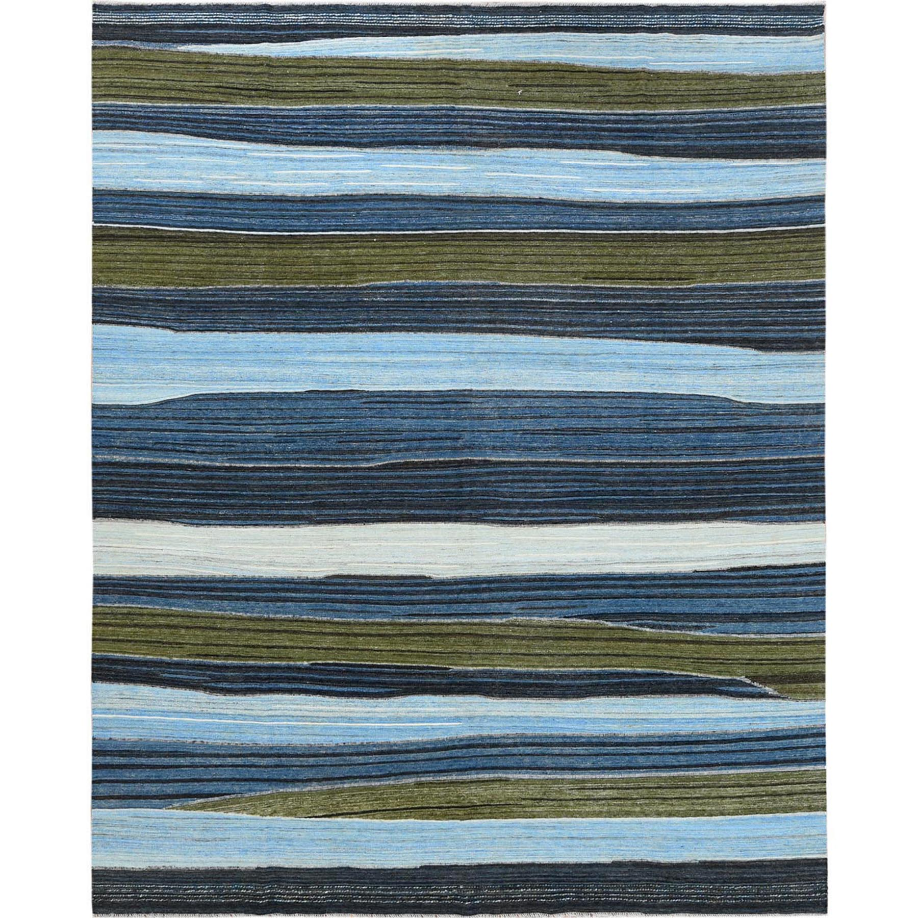 """9'7""""X11'10"""" Brown And Blue Mountain Design Flat Weave Kilim Pure Wool Reversible Hand Woven Oriental Rug moa60a0a"""