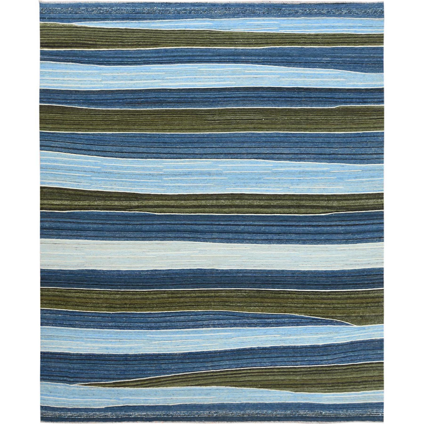 """9'8""""X12' Hand Woven Brown And Blue Mountain Design Flat Weave Kilim Pure Wool Reversible Oriental Rug moa60a0b"""