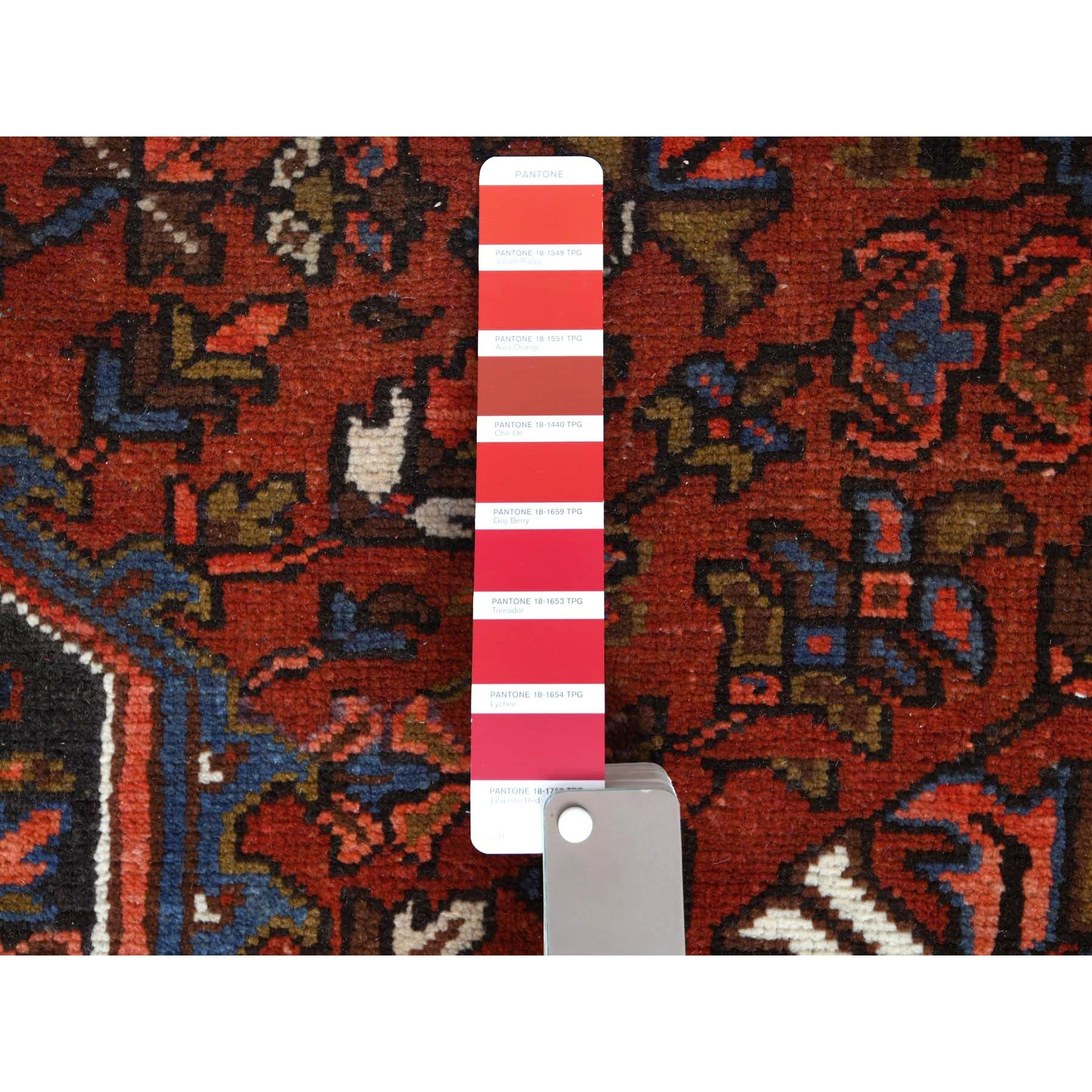 "9'5""x11'7"" Red Semi Antique Persian Heriz Clean Colorful Organic Wool Hand Knotted Oriental Rug"