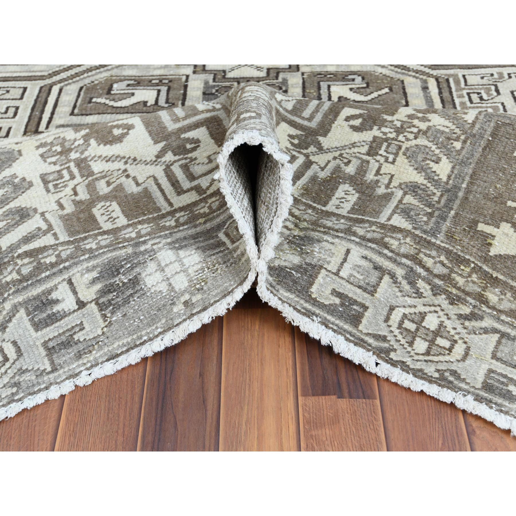"7'9""x11'1"" Gray Semi Antique Persian Heriz Tribal Design Clean Natural Wool Colors Hand Knotted Oriental Rug"