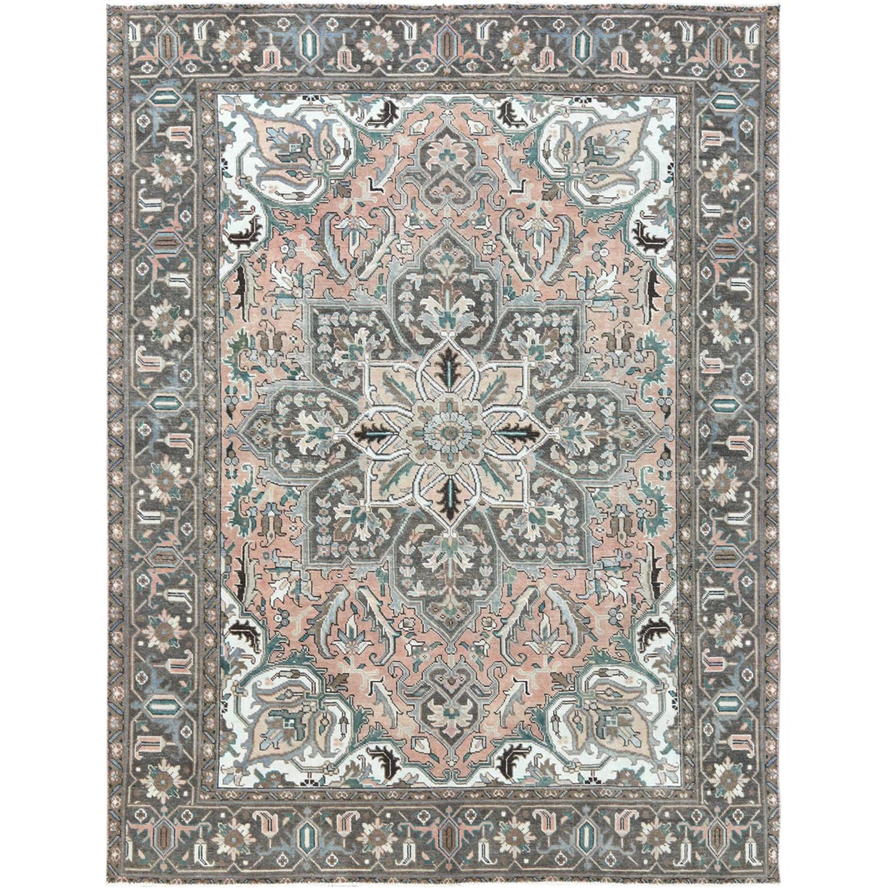 """8'3""""X10'10"""" Semi Antique Pink Color Flower Design Persian Heriz Pure Wool Clean Hand Knotted Oriental Rug moa60a6a"""
