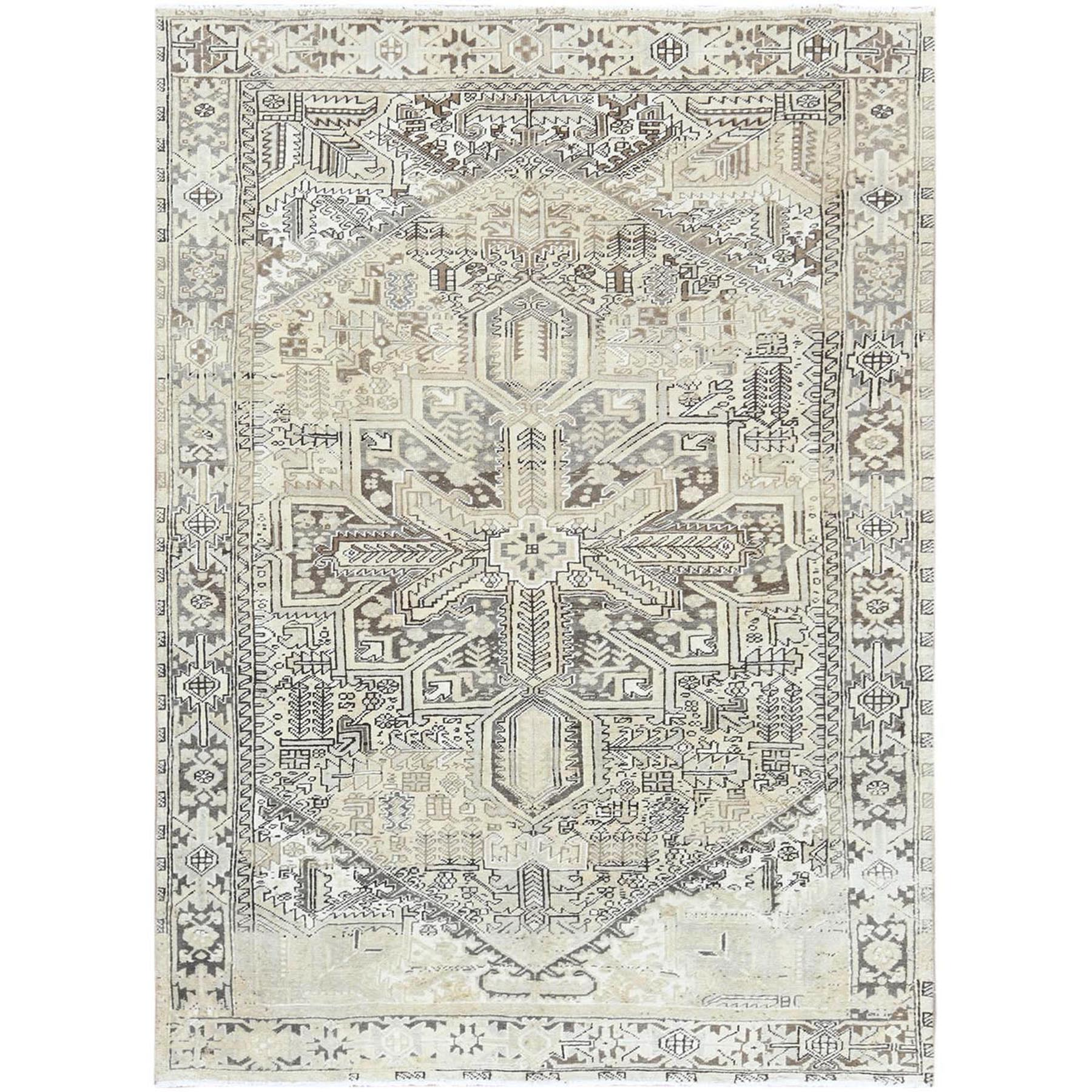 """7'8""""X10'6"""" Semi Antique Washed Out With Abrash Persian Heriz Clean Hand Knotted Organic Wool Oriental Rug moa60a6b"""