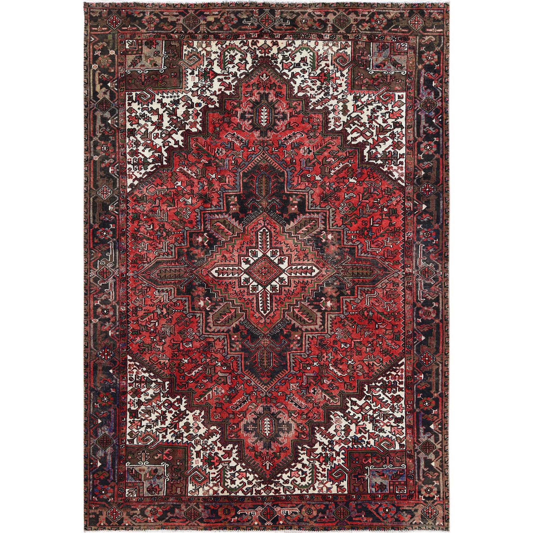 "8'2""x11'1"" Tomato Red Vintage Persian Heriz Organic Wool Clean Hand Knotted Oriental Rug"
