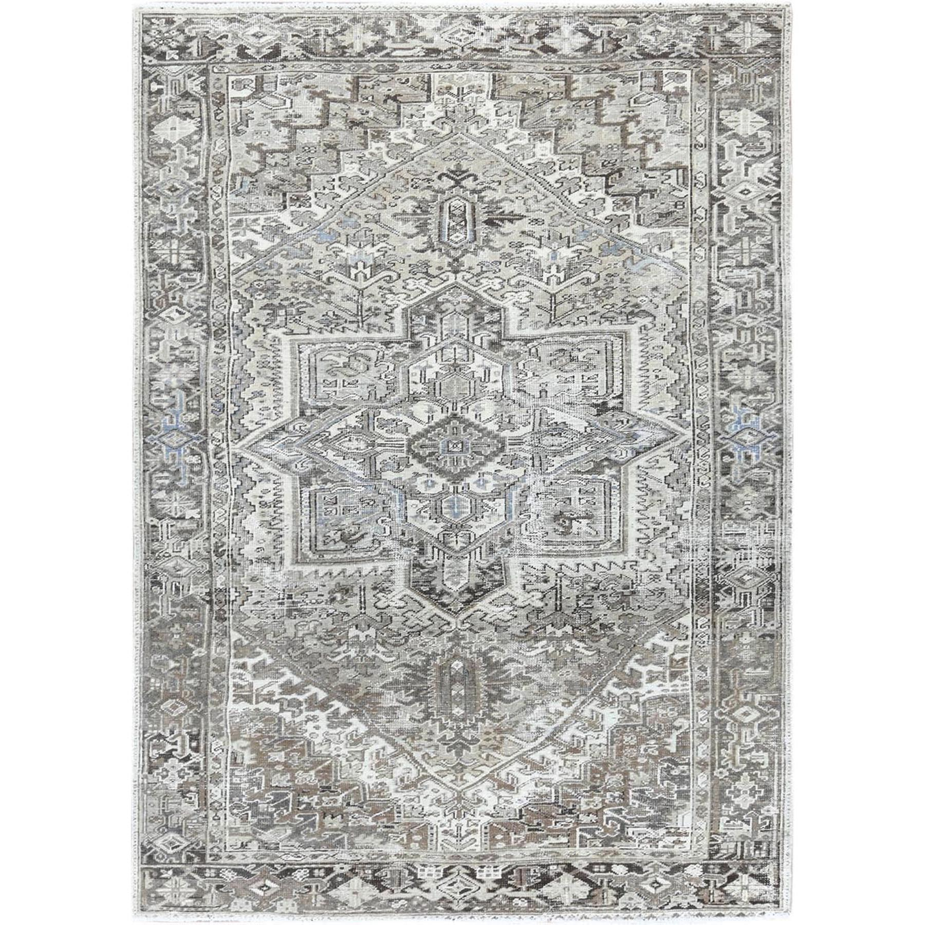 """7'3""""X10'5"""" Gray Vintage And Worn Persian Heriz Clean Natural Wool Hand Knotted Oriental Rug moa60a6e"""