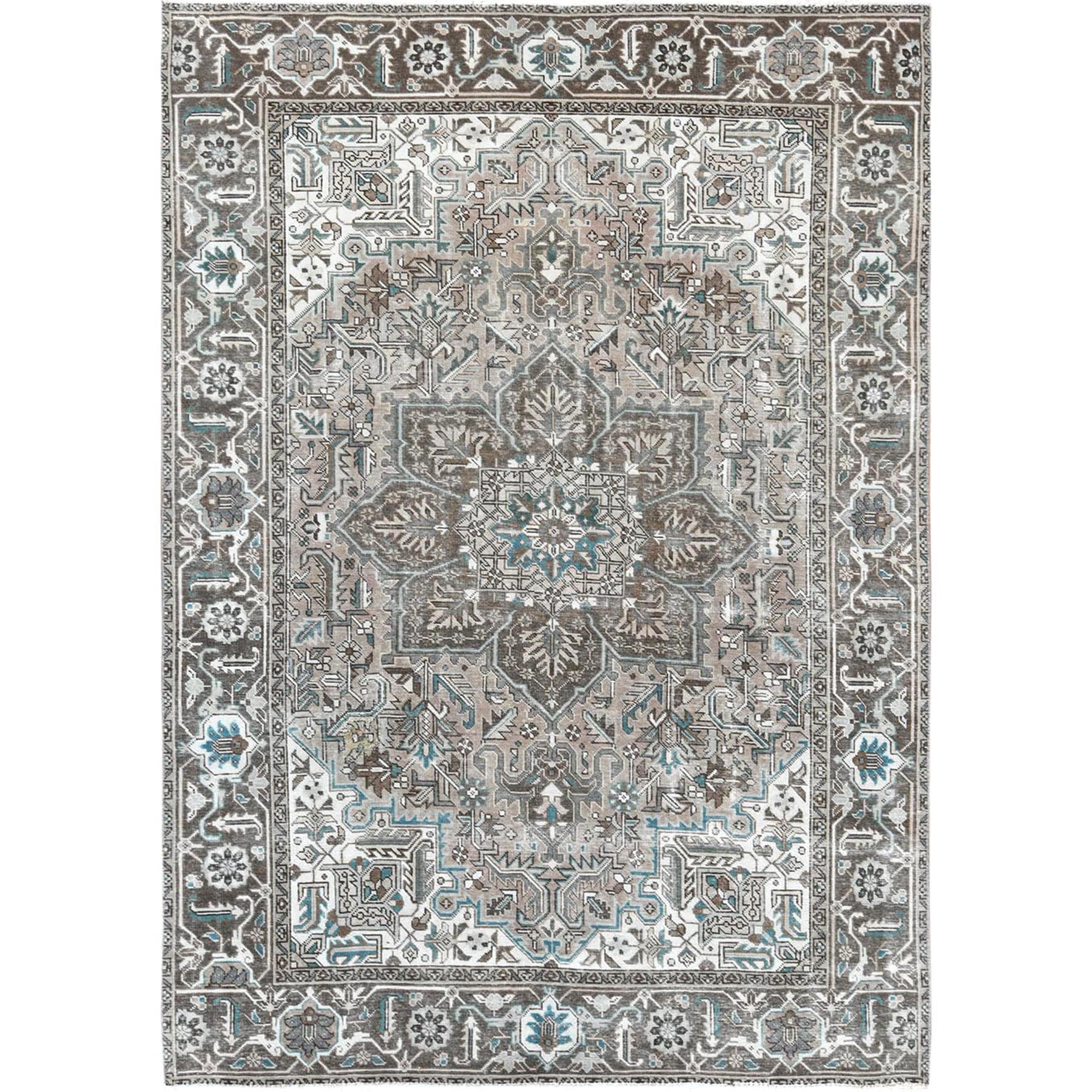 """8'X10'10"""" Vintage Taupe Persian Heriz Clean Pure Wool Hand Knotted Oriental Rug moa60a69"""