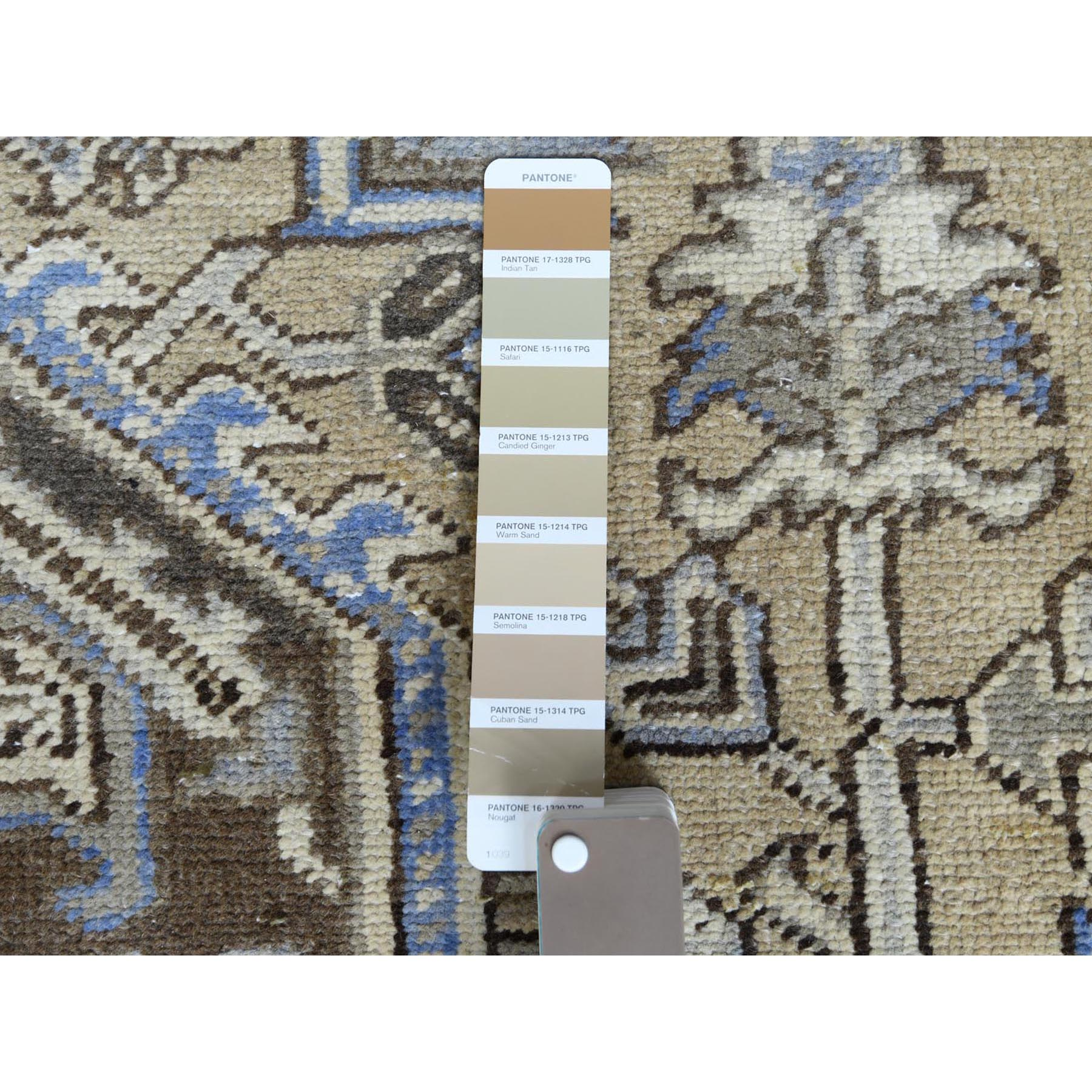 """8'3""""x10'6"""" Hand Knotted Semi Antique Washed Out Beige Persian Heriz Distressed Organic Wool Oriental Rug"""