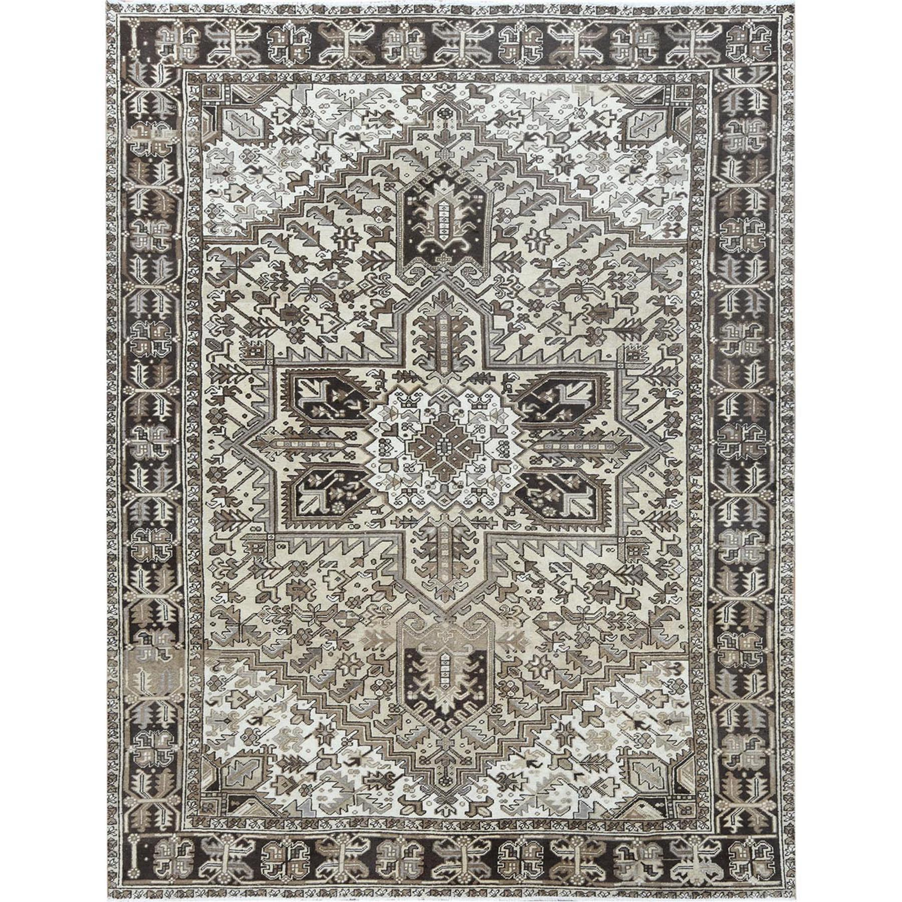 8'x11' Hand Knotted Washed Out Ivory Persian Heriz Vintage Worn Down Organic Wool Oriental Rug