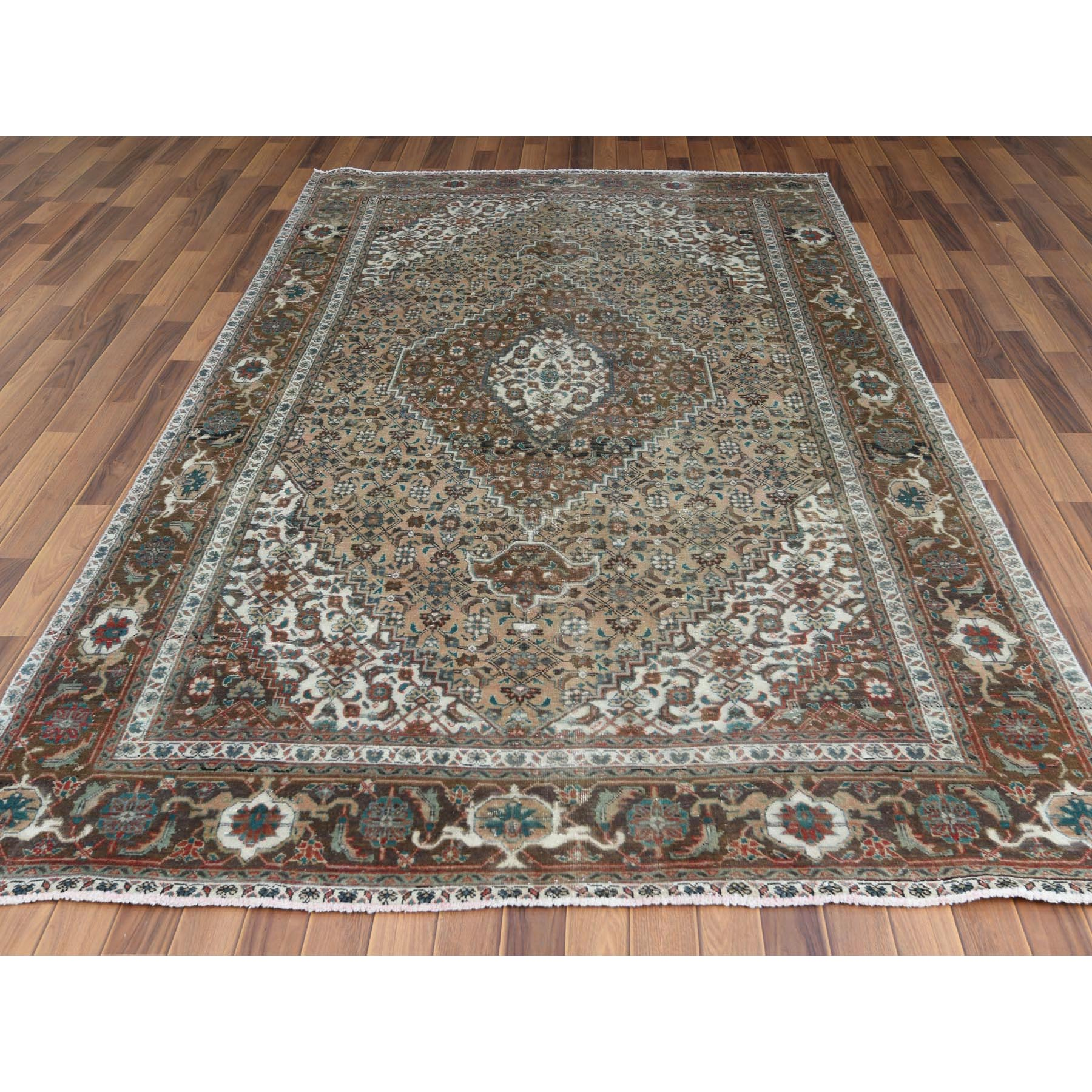"""6'2""""x10'2"""" Beige Clean Natural Wool Shabby Chic Distressed Old Persian Tabriz Mahi Medallion Design Hand Knotted Oriental Rug"""