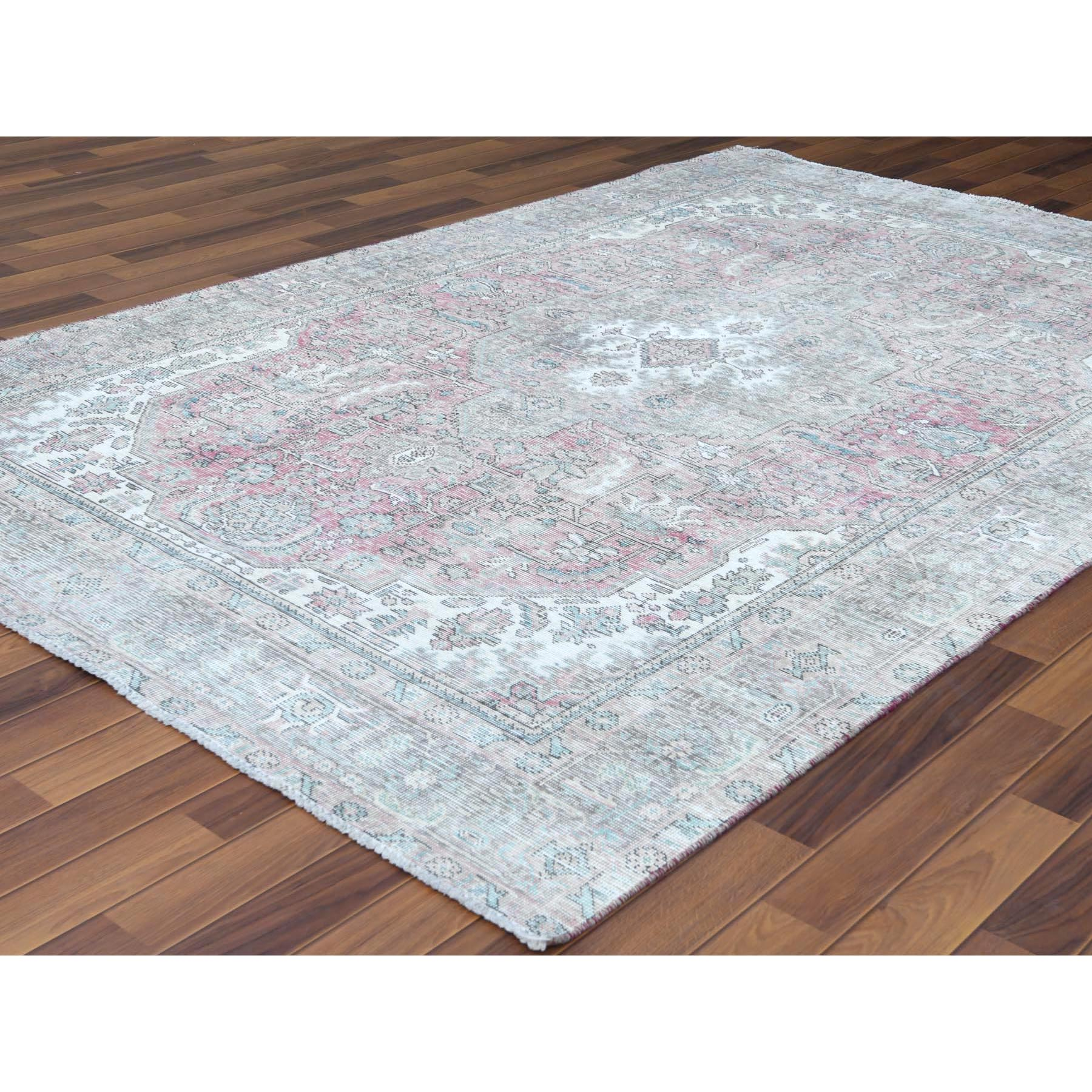 """6'2""""x9'4"""" Red Clean Organic Wool Bohemian Sheared Low Semi Antique Persian Tabriz Medallion Design Hand Knotted Oriental Rug"""