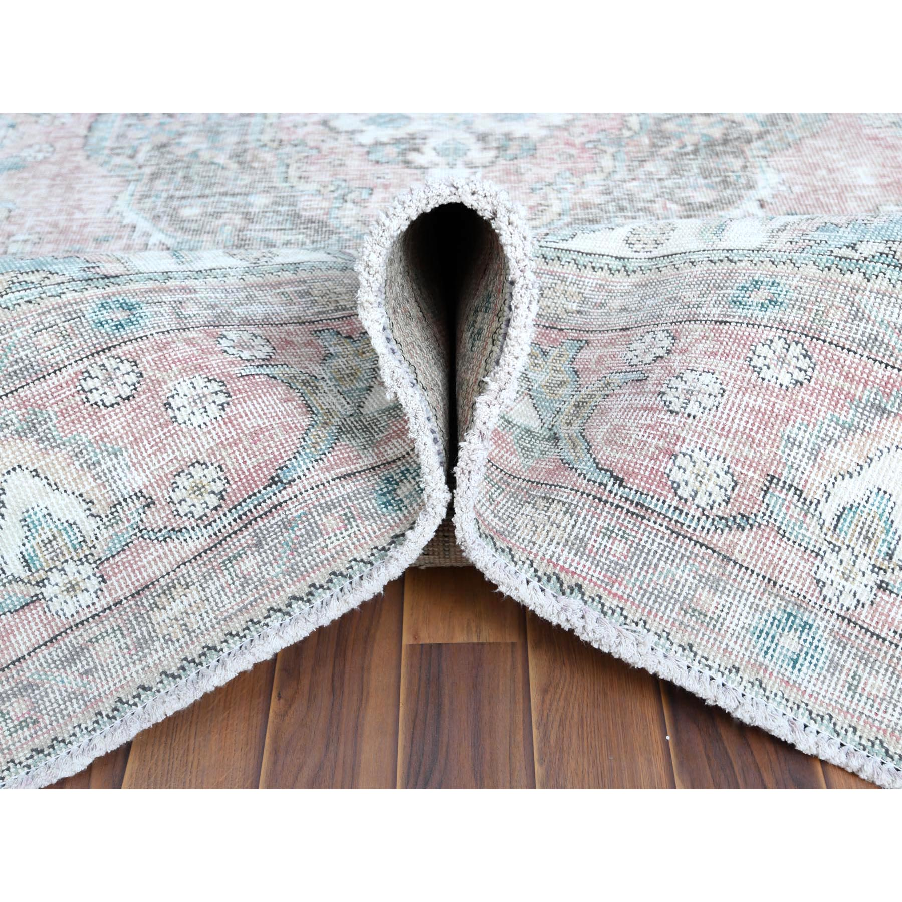 """6'8""""x9'8"""" Red Clean Pure Wool Shabby Chic Worn Down Old Persian Tabriz Medallion Design Hand Knotted Oriental Rug"""