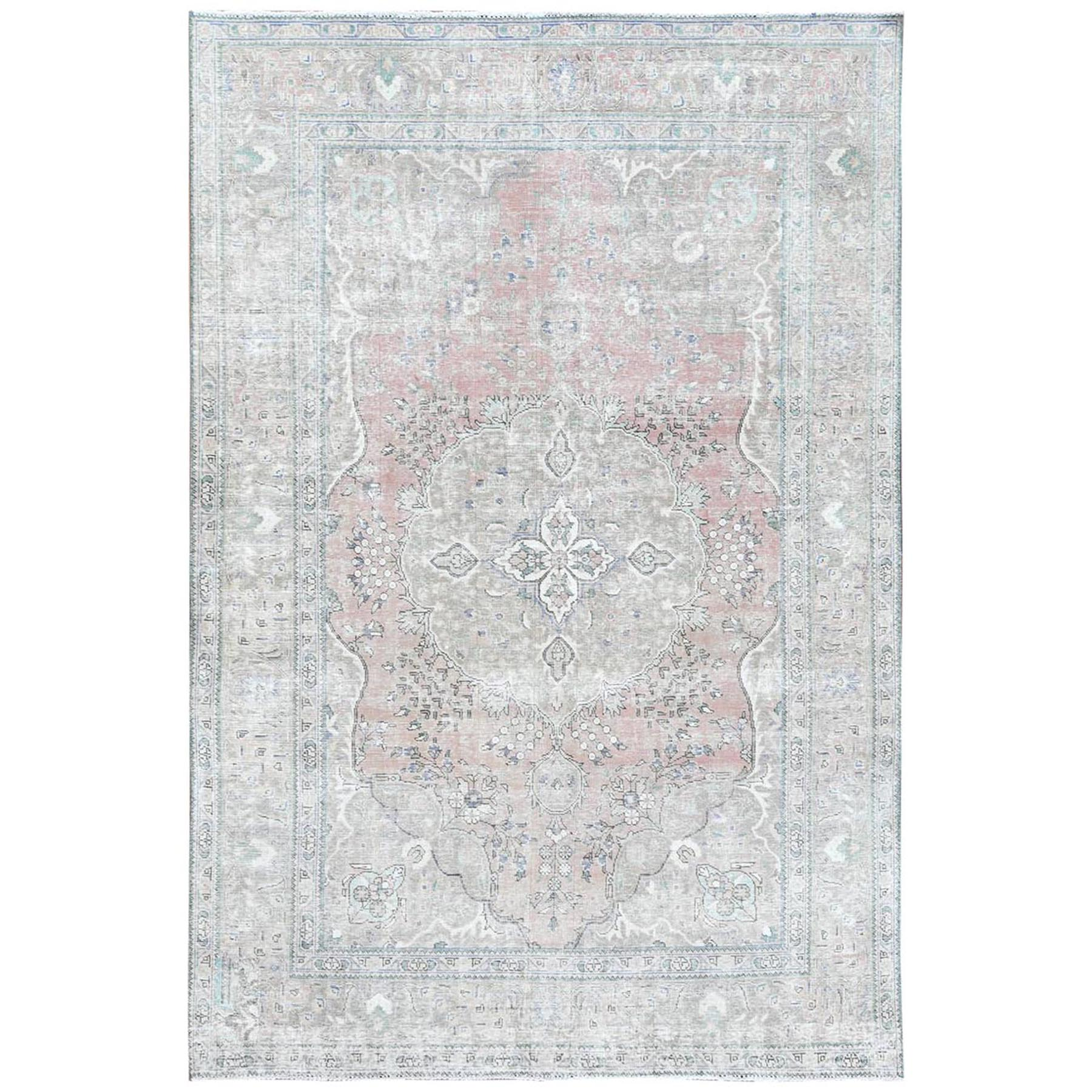 """6'2""""x9'7"""" Red Clean Natural Wool Shabby Chic Distressed Old Persian Tabriz Medallion Design Hand Knotted Oriental Rug"""
